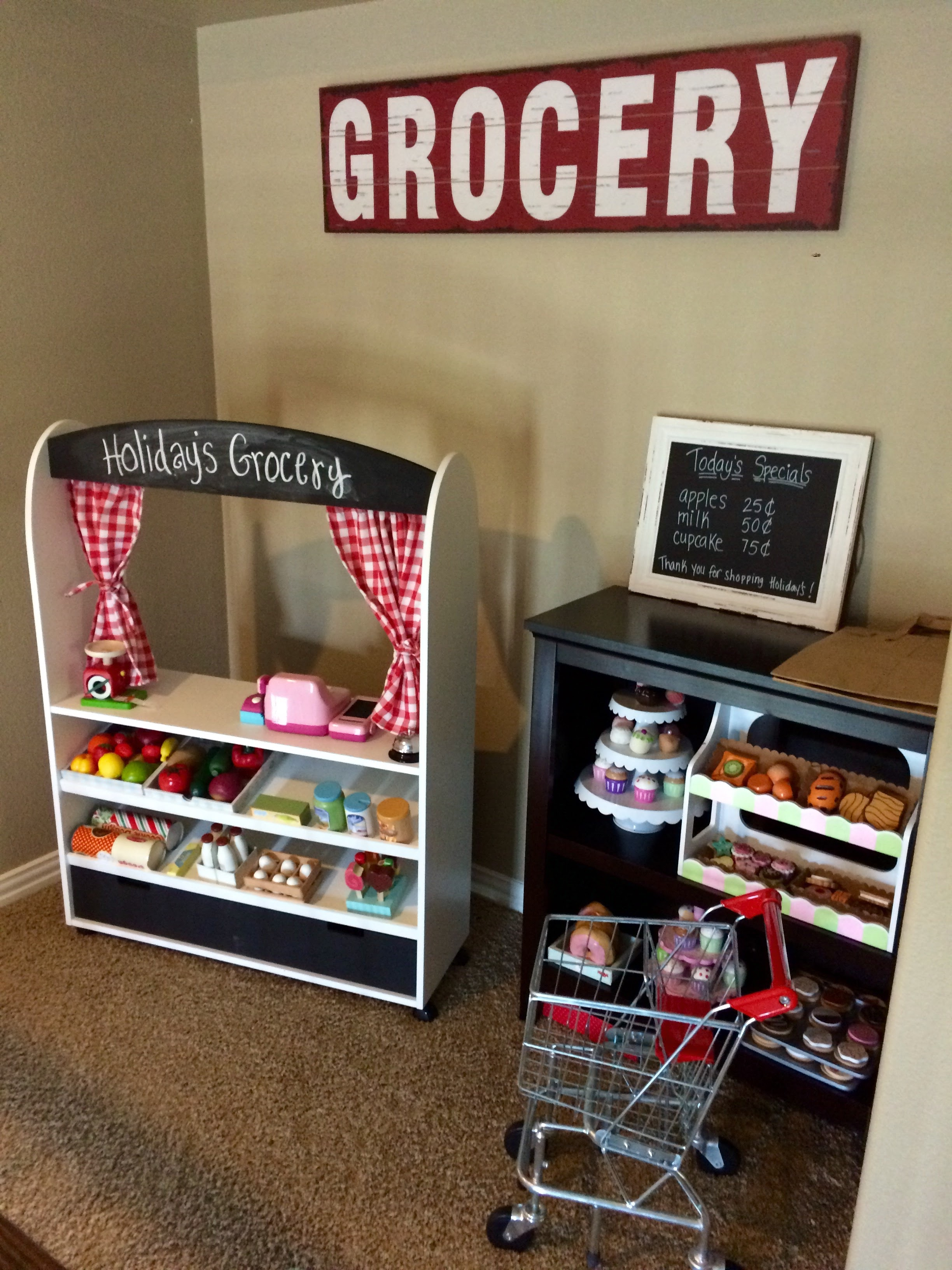 Here's a real life picture of our Grocery set-up!  We happened to have this nook next to our Game and Play rooms upstairs!  Grocery sign is from Hobby Lobby