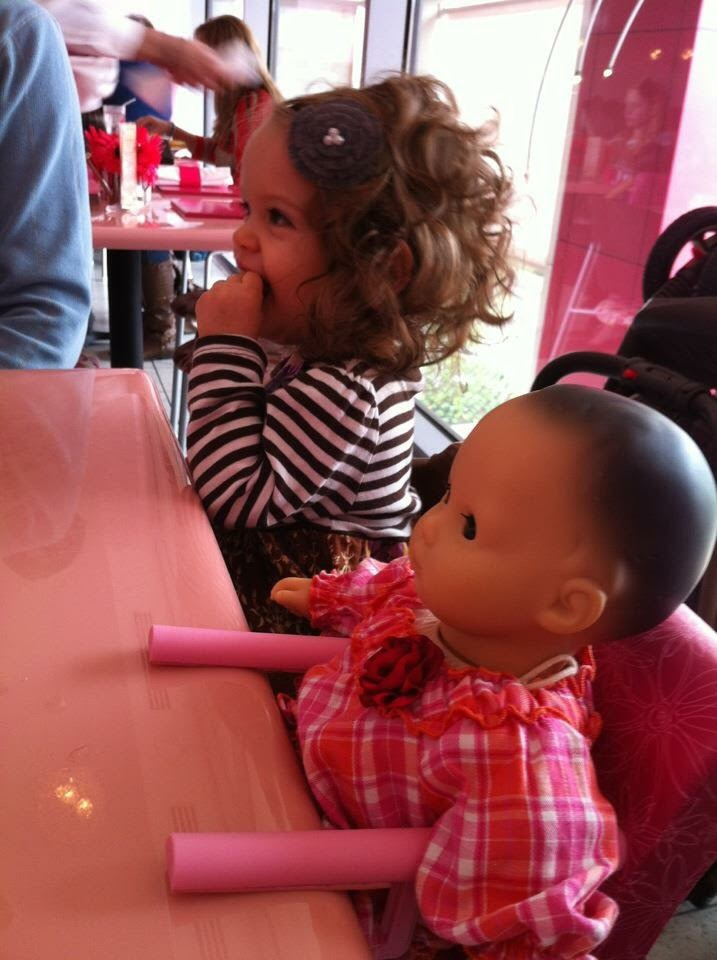 Her first time having lunch at the American Girl Bistro for cousin Zoe's birthday!
