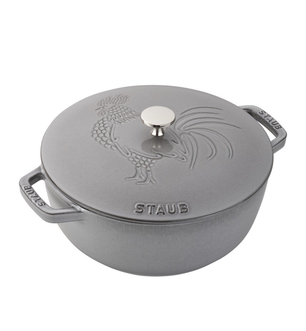 Staub Cookware 3.75 Quart Essential French Oven Rooster, Color: Graphite Grey