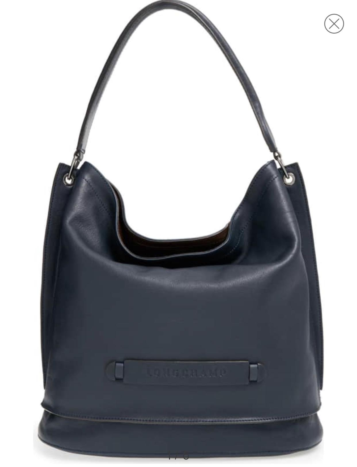 Longchamp 3D Leather Hobo- Midnight Blue
