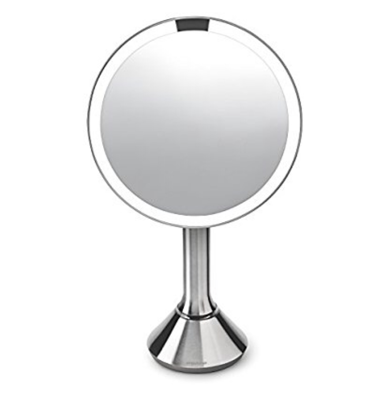 Simple Human Brushed Stainless Rechargeable Magnification Mirror With Brightness Control