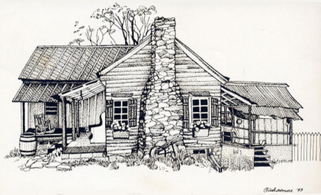 Hezekiah Barker's log home (approximation)