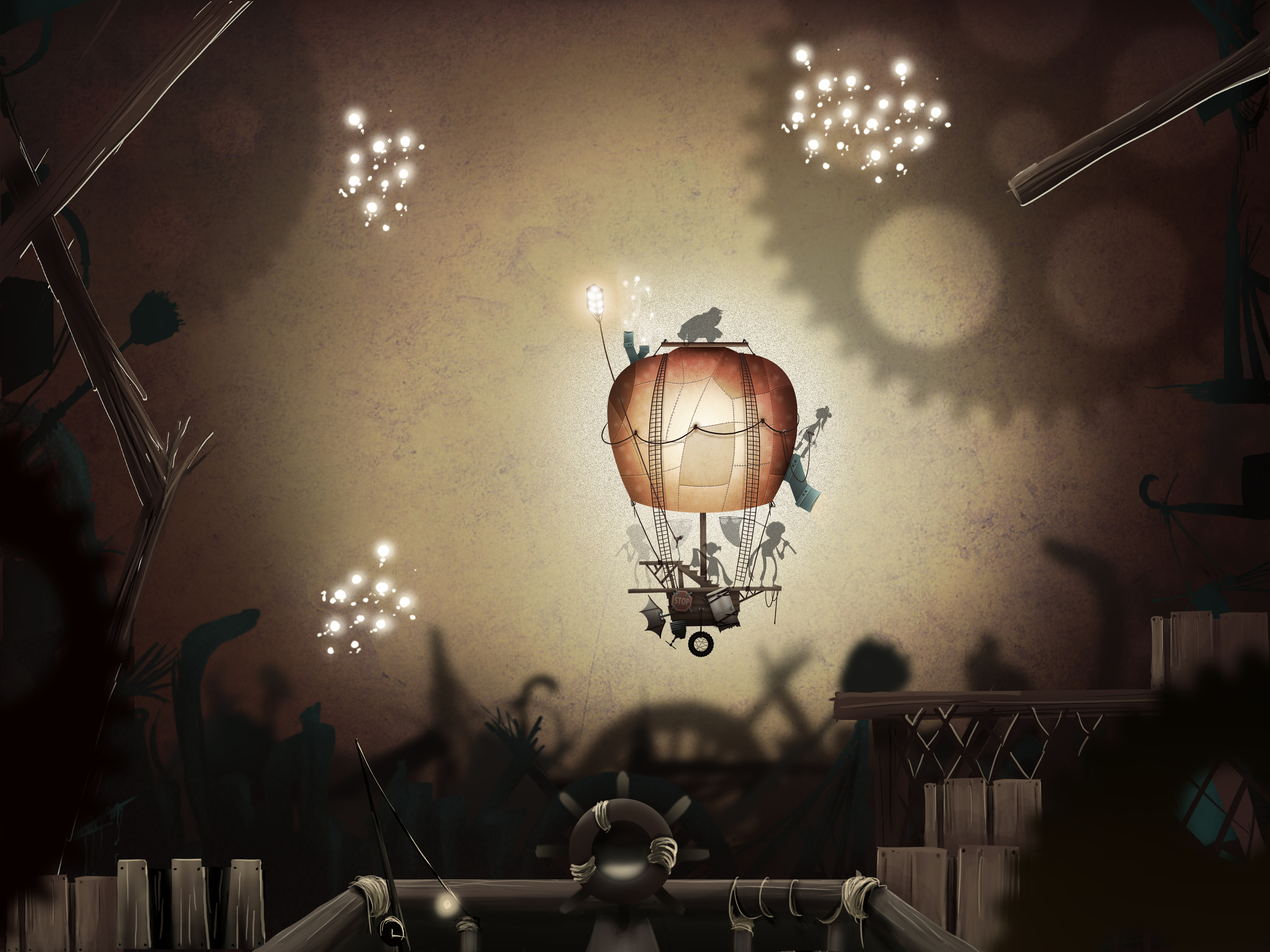 Fireflies and balloon drawn by another artist.