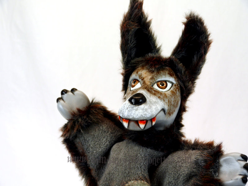 Carved Wolf Hand Puppet