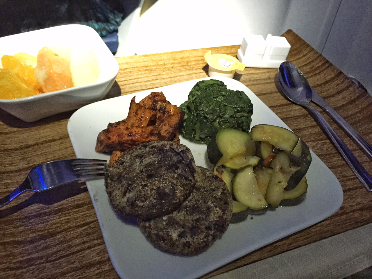 falafel patties, steamed green squash, sauteed spinach and roasted sweet potato slices