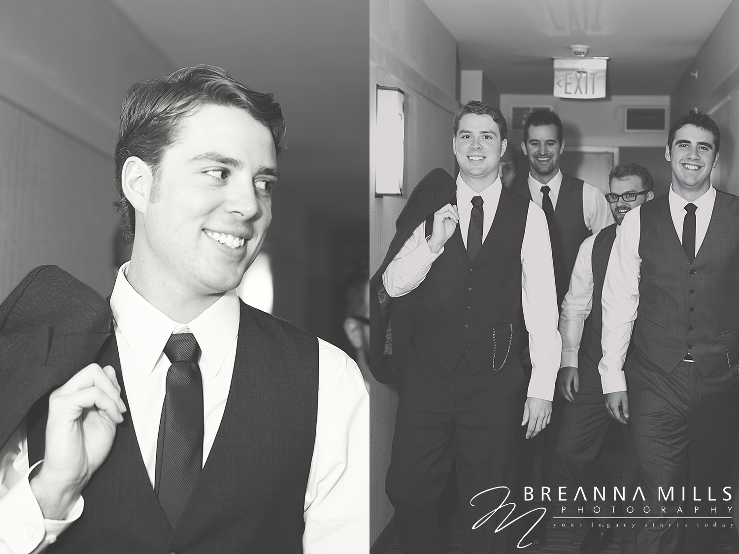 Johnson City wedding photographer Breanna Mills Photography captures groom with his groomsmen for portraits on wedding day at Meadowview Convention Center. Preparing for wedding at the Corey Ippolito Winery wedding venue.
