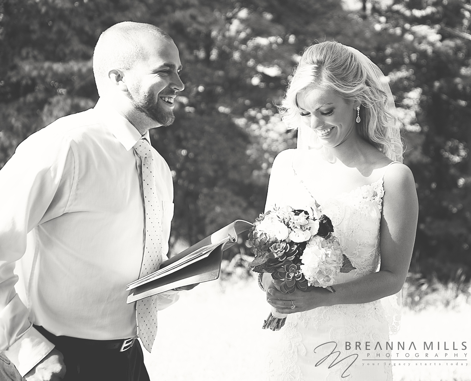 Johnson City Wedding Photographer Breanna Mills Photography captures a bride with minister on her wedding day at the Cory Ippolito Winery wedding venue.