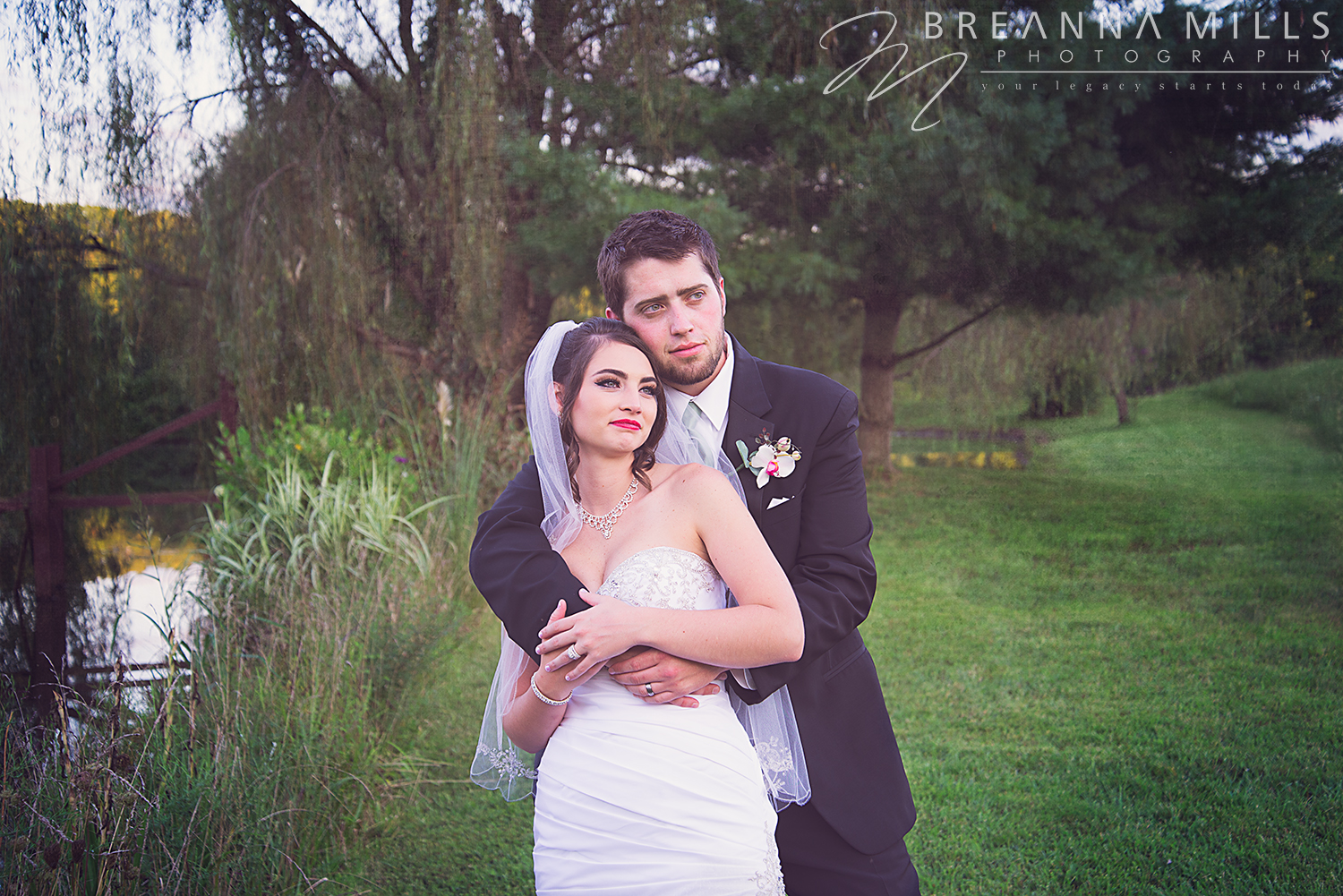 Johnson City wedding photographer, Breanna Mills Photography captures creative portraits at bride and groom's outdoor wedding at Storybrook Farm wedding venue.