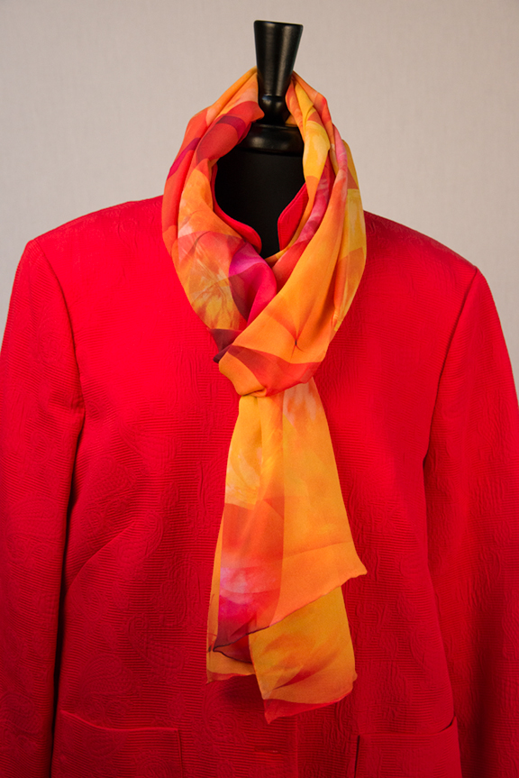 Bold bright yellow and red scarf