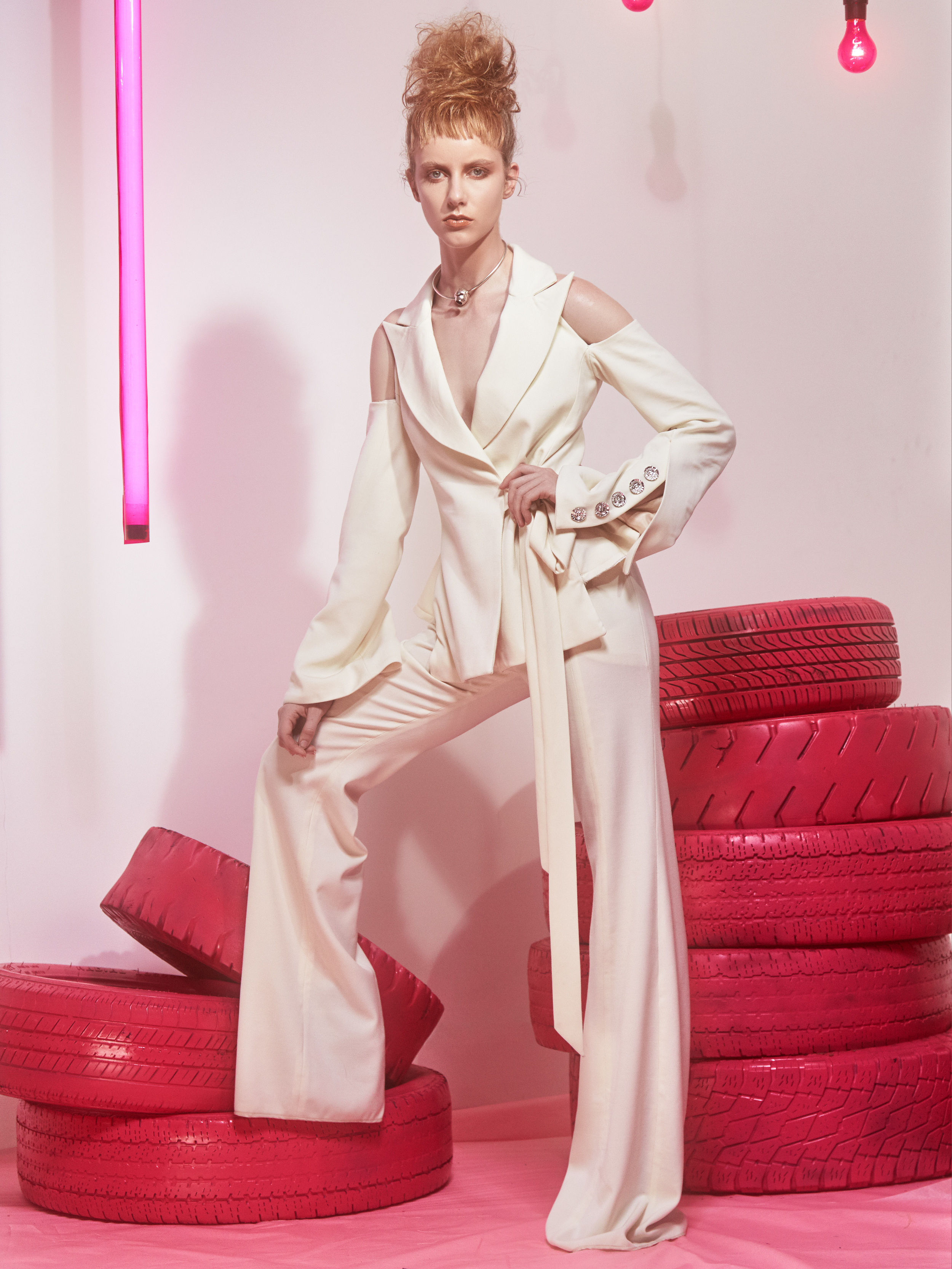 Thilda Blazer:  wool/viscose blend suiting, Swarovski Crystal™ button closures   Thilda Trouser:  wool/viscose blend suiting