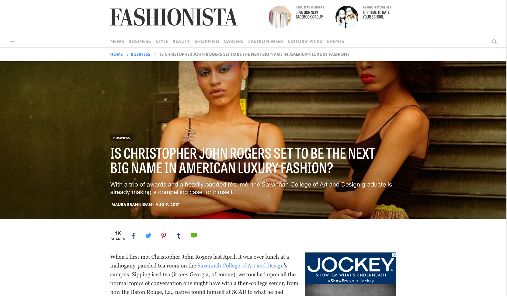 """Is Christopher John Rogers Set to be the Next Big Name in American Luxury Fashion?""    Fashionista.com, August 2017"