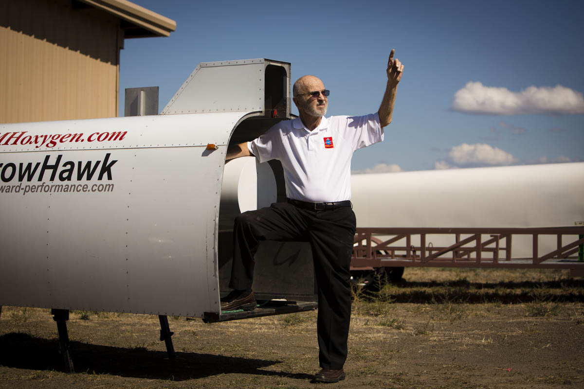 On Monday, September 16, 2013  Einar Enevoldson, Founder, Operations Director and chief pilot of The Perlan Project gives a tour of their facilities in Bend, OR and their glider in progress.  A team of scientists and aviation buffs are preparing a 2-seat glider with a 84 ft wing span, made of carbon fiber,  that they plan to push to a record altitude of 90,000 feet above the poles in 2015.  At this height  vast iridescent clouds of nitric acid and water vapor tear apart the ozone layer, and will give them the ability to study the Polar Votex.