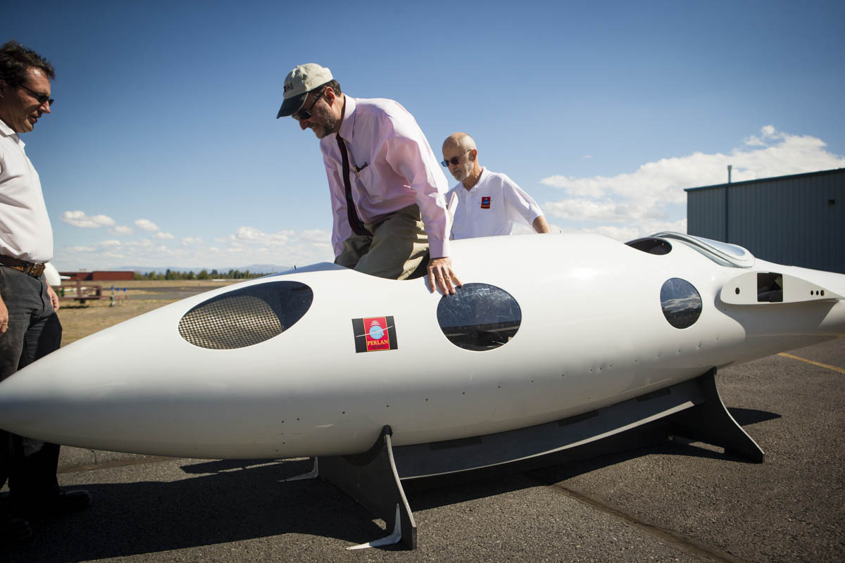 On Monday, September 16, 2013 members of The Perlan Project give a tour of their facilities in Bend, OR and their glider in progress.  A team of scientists and aviation buffs are preparing a 2-seat glider with a 84 ft wing span, made of carbon fiber,  that they plan to push to a record altitude of 90,000 feet above the poles in 2015.  At this height  vast iridescent clouds of nitric acid and water vapor tear apart the ozone layer, and will give them the ability to study the Polar Votex.  Founder Einar Enevoldson is the Operations Director and chief pilot of the mission.