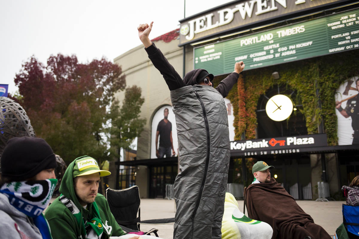 PORTLAND, OR – October 13, 2013: just after dawn dedicated Portland Timbers soccer fans can be found camped out in line outside the Jen-Weld Field (some since the night before) to get one of 1,000 wristbands given out for earliest-possible admission to the Timbers Army general admission section for a big game with rivals to the North, the Seattle Sounders. The Timbers are one of the three hottest franchises in MLS right now, all part of a soccer explosion in the Pacific Northwest, including the Seattle Sounders and the Vancouver Whitecaps.