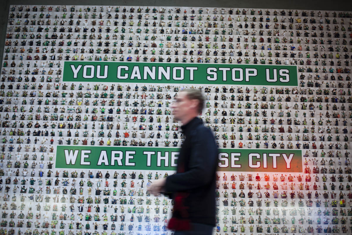 PORTLAND, OR – October 13, 2013:  Portland Timbers soccer fans portraits and slogan are prominantly displayed at Jen-Weld Field. One of the three hottest franchises in MLS right now, the Timbes are part of a soccer explosion in the Pacific Northwest, including the Seattle Sounders and the Vancouver Whitecaps.