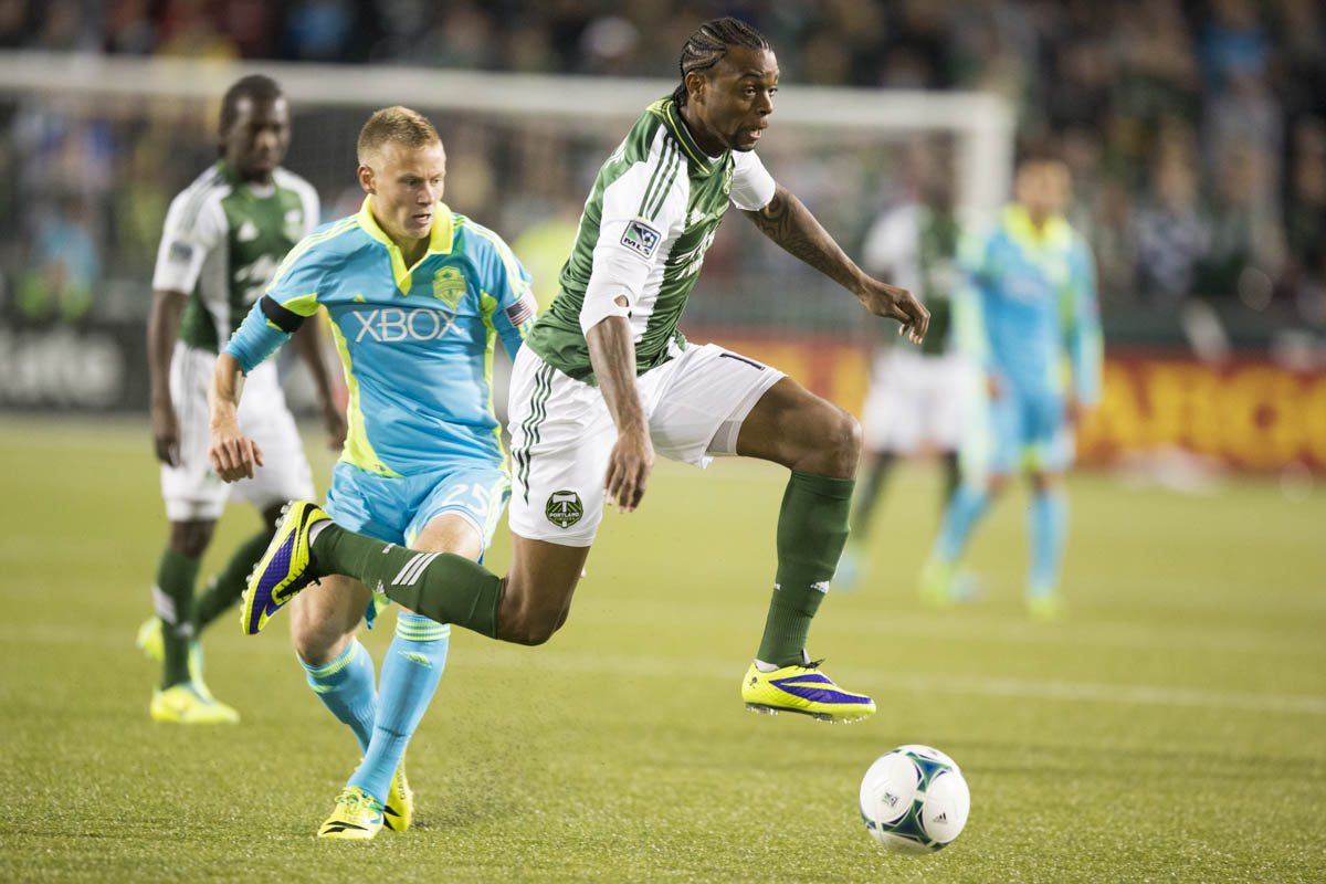 PORTLAND, OR – October 13, 2013: Portland Timbers' Frederic Piquionne pushes up field attacking the Sounders net in the second half during a heated rivalry game at Jeld-Wen Field. The Timbers beat the Sounders 1-0 on their home field.  Credit: Christopher Onstott for the New York Times