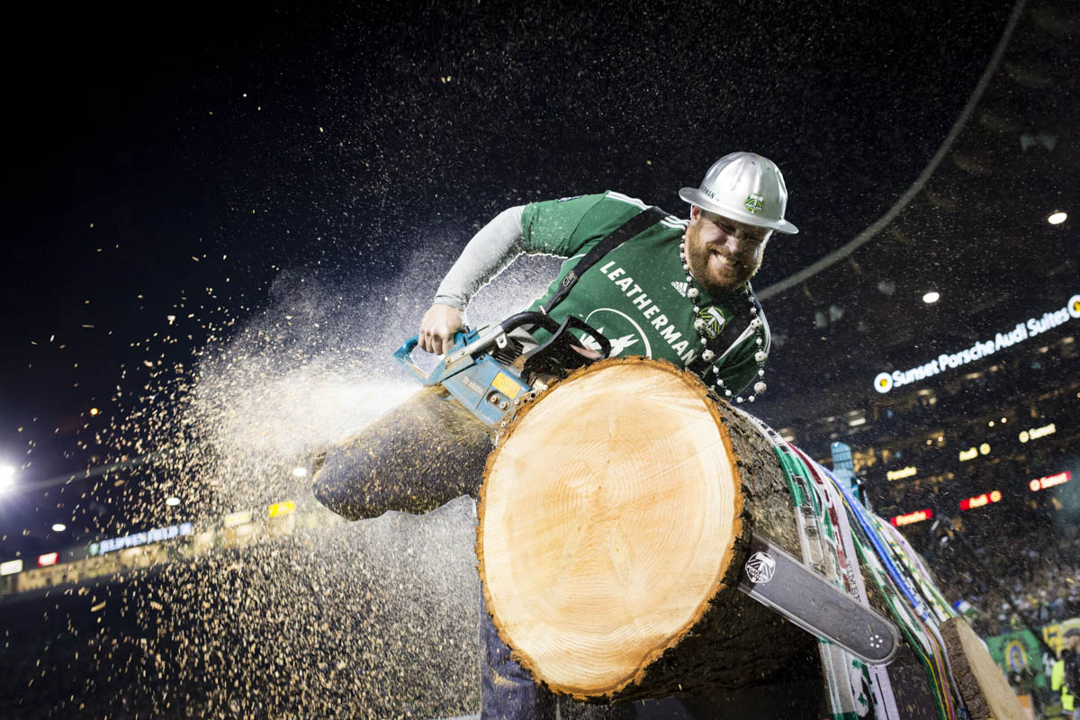 "PORTLAND, OR – October 13, 2013:   Portland Timbers' mascot, Joey Webber, known by fans as ""Timber Joey, celebrates their 1-0 win over their rivals to the North, the Seattle Sounds at the Jen-Weld Field. One of the three hottest franchises in MLS right now, the Timbes are part of a soccer explosion in the Pacific Northwest, including the Sounders and the Vancouver Whitecaps.