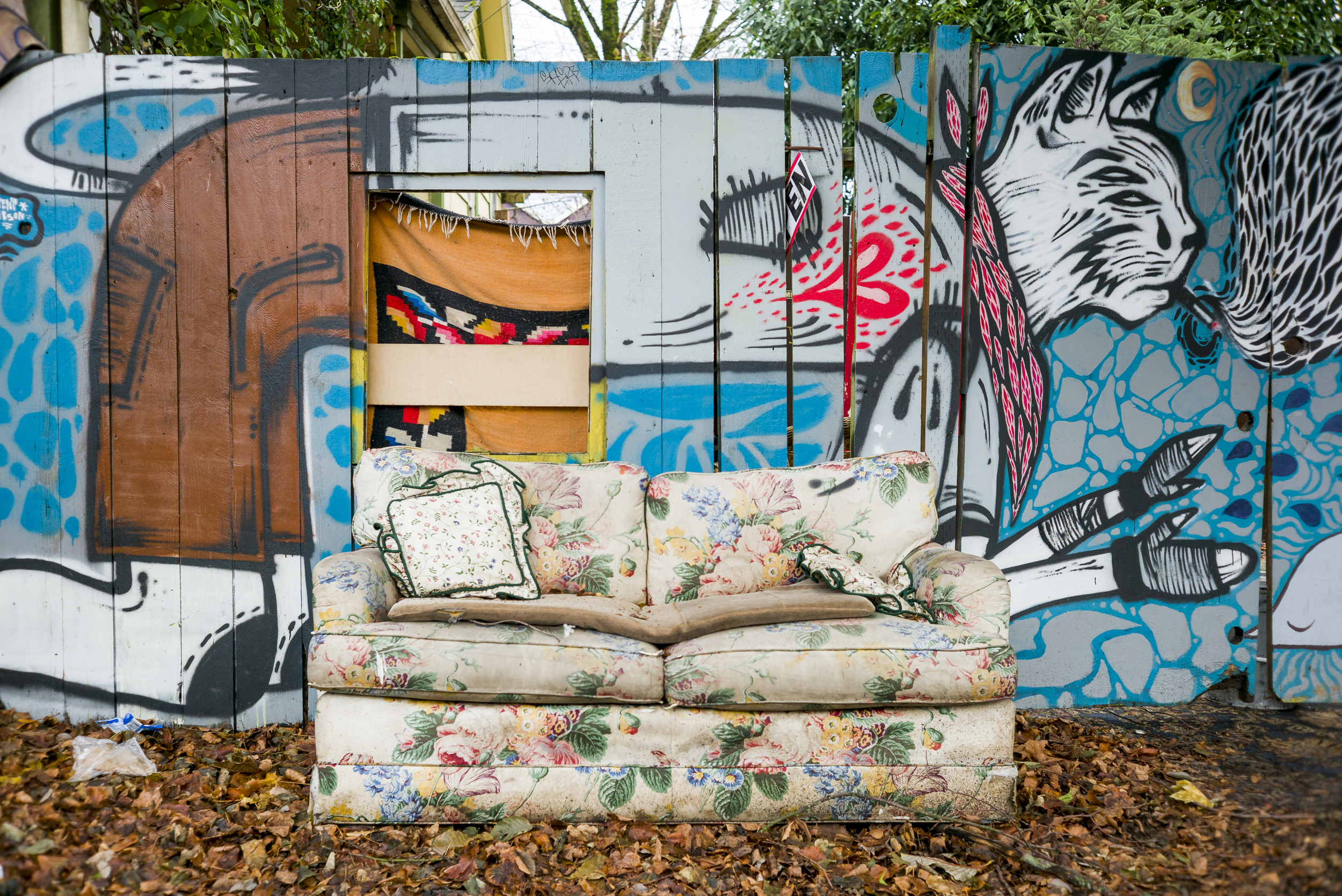 PORTLAND, OR - DECEMBER 5, 2014: Design abounds on Historic Mississippi Avenue in North Portland including at the Art Collective called 2k14 where artists Trent Gibson and Santi C. created the mural pictured on their fence. CREDIT: Leah Nash for The New York Times