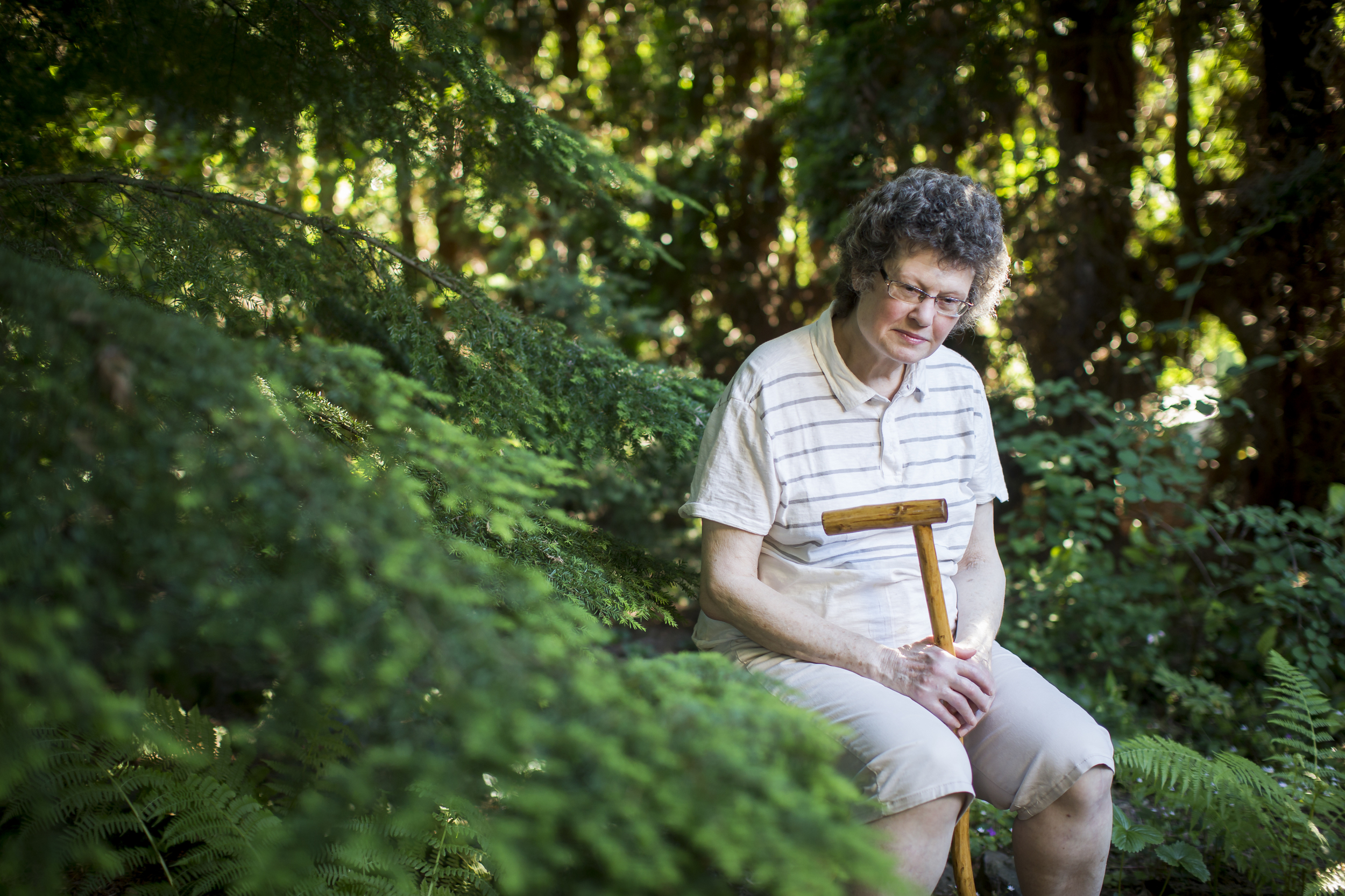 On Sunday, June 7, 2015 Kathleen McCann poses for a portrait in the backyard of her home in Portland, OR.  McCann