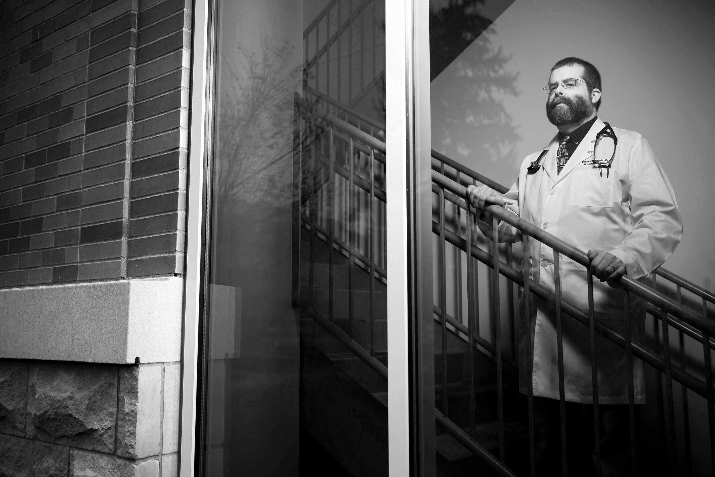 SPRINGFIELD, OR – JANUARY 6th, 2016: Dr. David M. Schwartz a hospitalist at PeaceHealth Sacred Heart Medical Center at RiverBend in Springfield, OR poses for a portrait at the hospital. Schwartz is the president of the union that was formed in reaction to the hospital's announcement that it wanted to outsource the facility's 36 hospitalists. As a result the administration junked their plan. CREDIT: Leah Nash for The New York Times