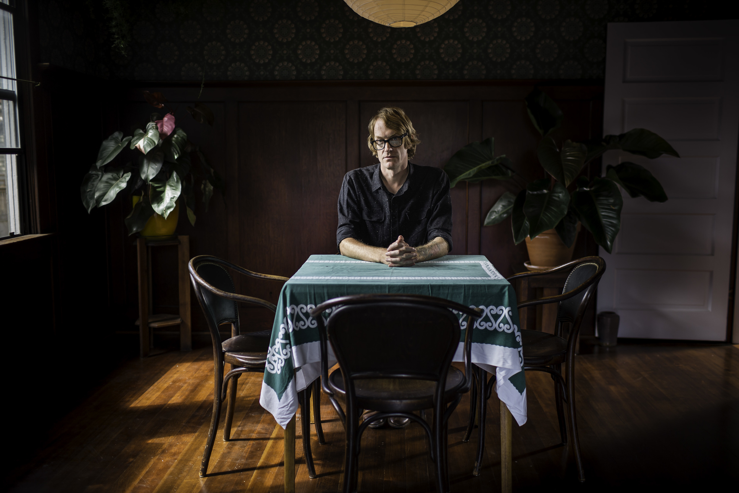 Novelist Patrick DeWitt, author of Under Major Domo Minor, The Sisters Brothers, and Ablutions,  at his home in Portland, Oregon.