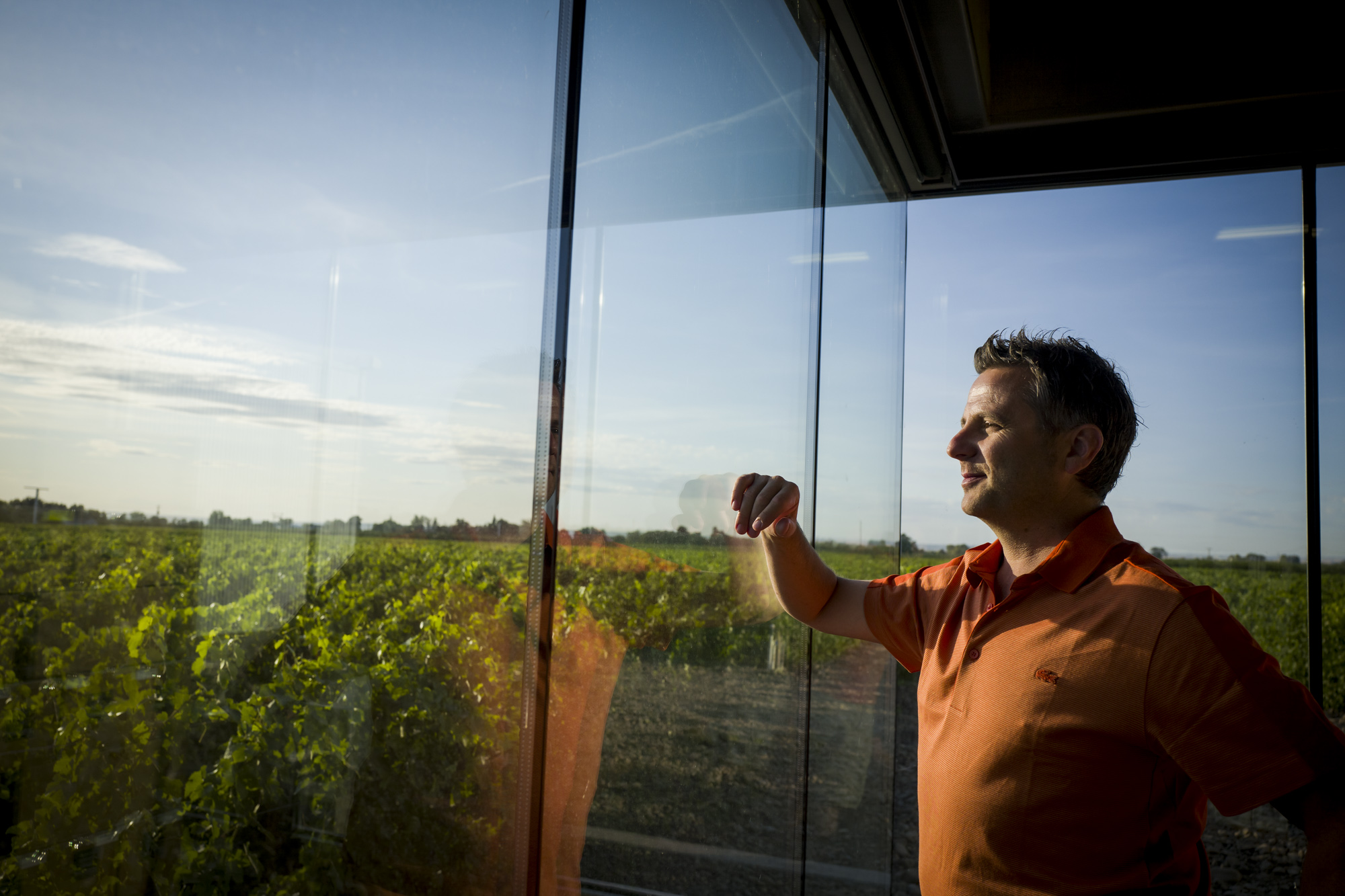 Portrait of Christophe Baron at Horsepower winery, Cayuse winery, in Milton-Freewater, OR