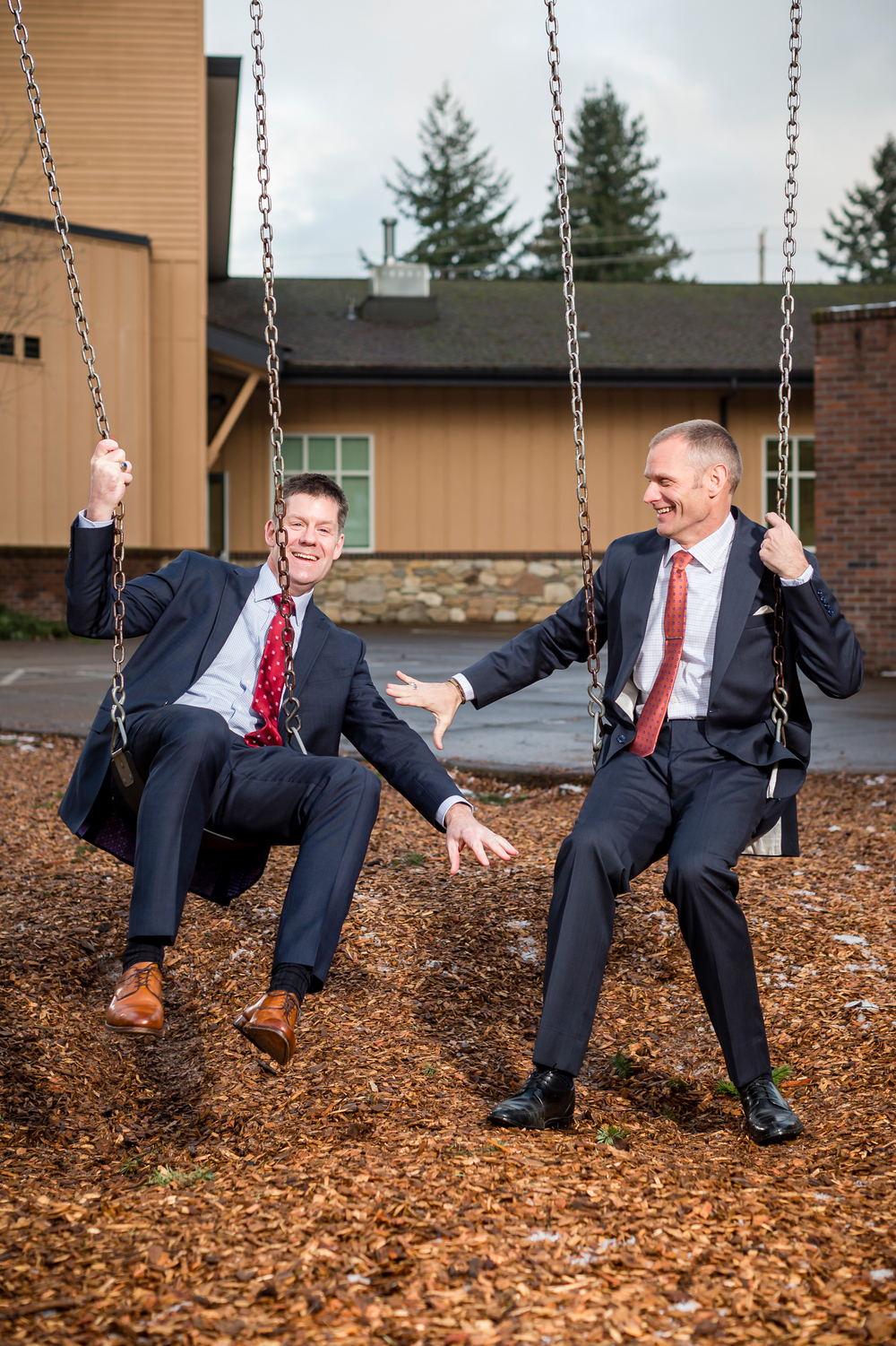 On Tuesday, January 5th, 2016  Superintendent for Vancouver Public Schools Dr. Steve Webb (rt) and Chief of Staff Tom Hagley Jr. (lt) pose for a photo at Fruit Valley Elementary School in Vancouver, WA. NashCO Photo for Education Week.