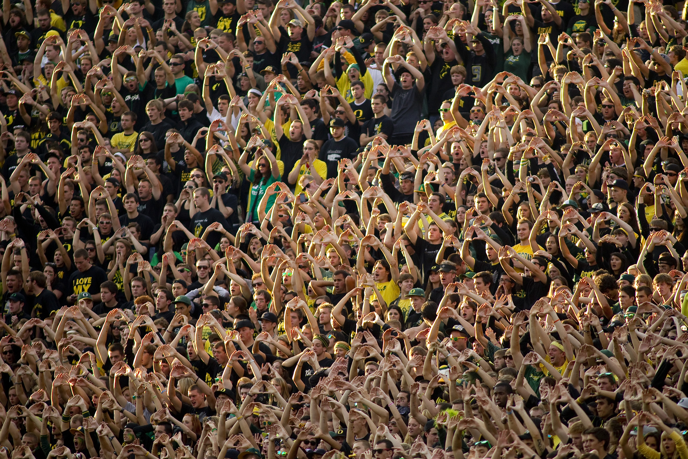10/02/2010 - Oregon fans cheer on the Ducks against Stanford Saturday at Autzen Stadium in Eugene.