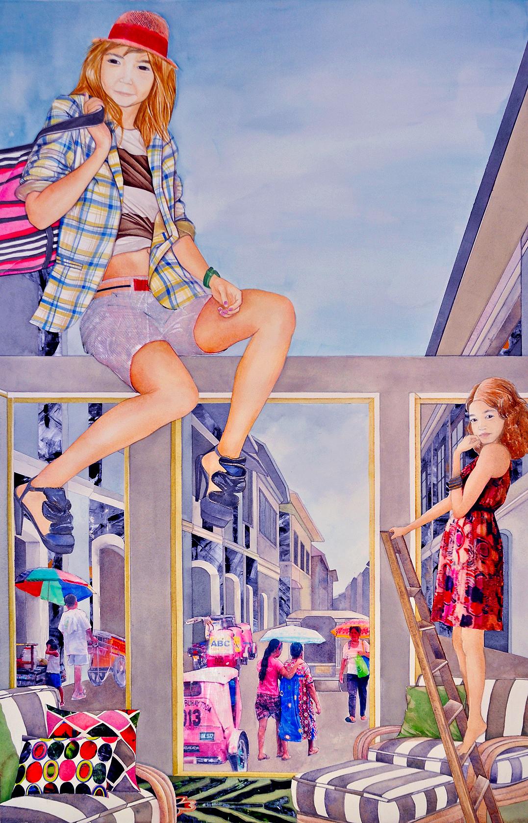 "Make-believing , 2010.Gouache, acrylic, & image transfer on paper, 45"" x 30"" (Photo: Ramon Pintado)"