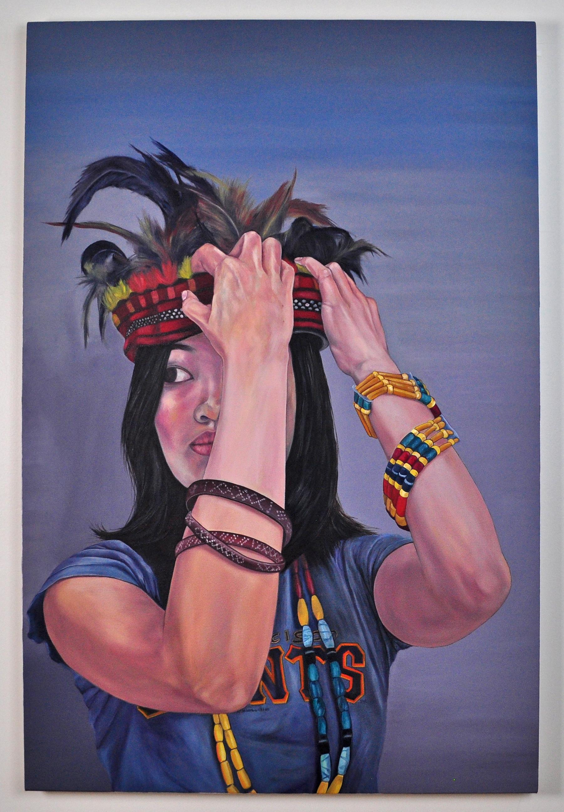 "Self Fitting , 2010.Oil on canvas over panel, 48"" x 32"" (Photo: Ramon Pintado)"