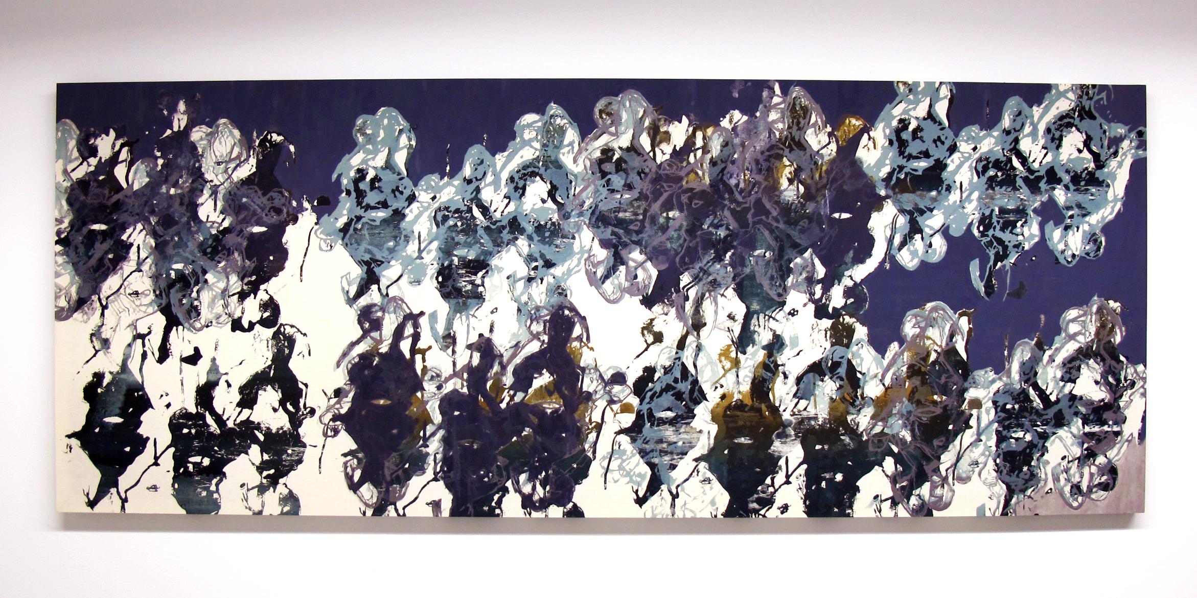 "Hegemonic Pattern , 2013.Silkscreen & acrylic on muslin, 40"" x 102"""