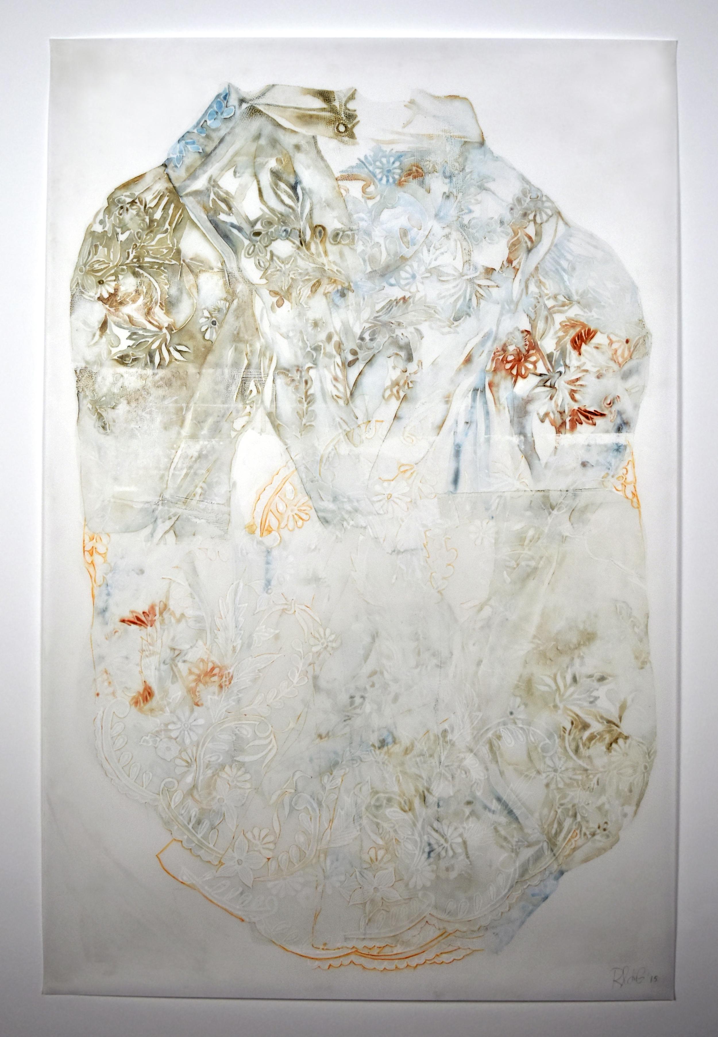"Tisay (Mestiza) , 2015.Monoprint and gouache on Yupo paper, 35"" x 23"""