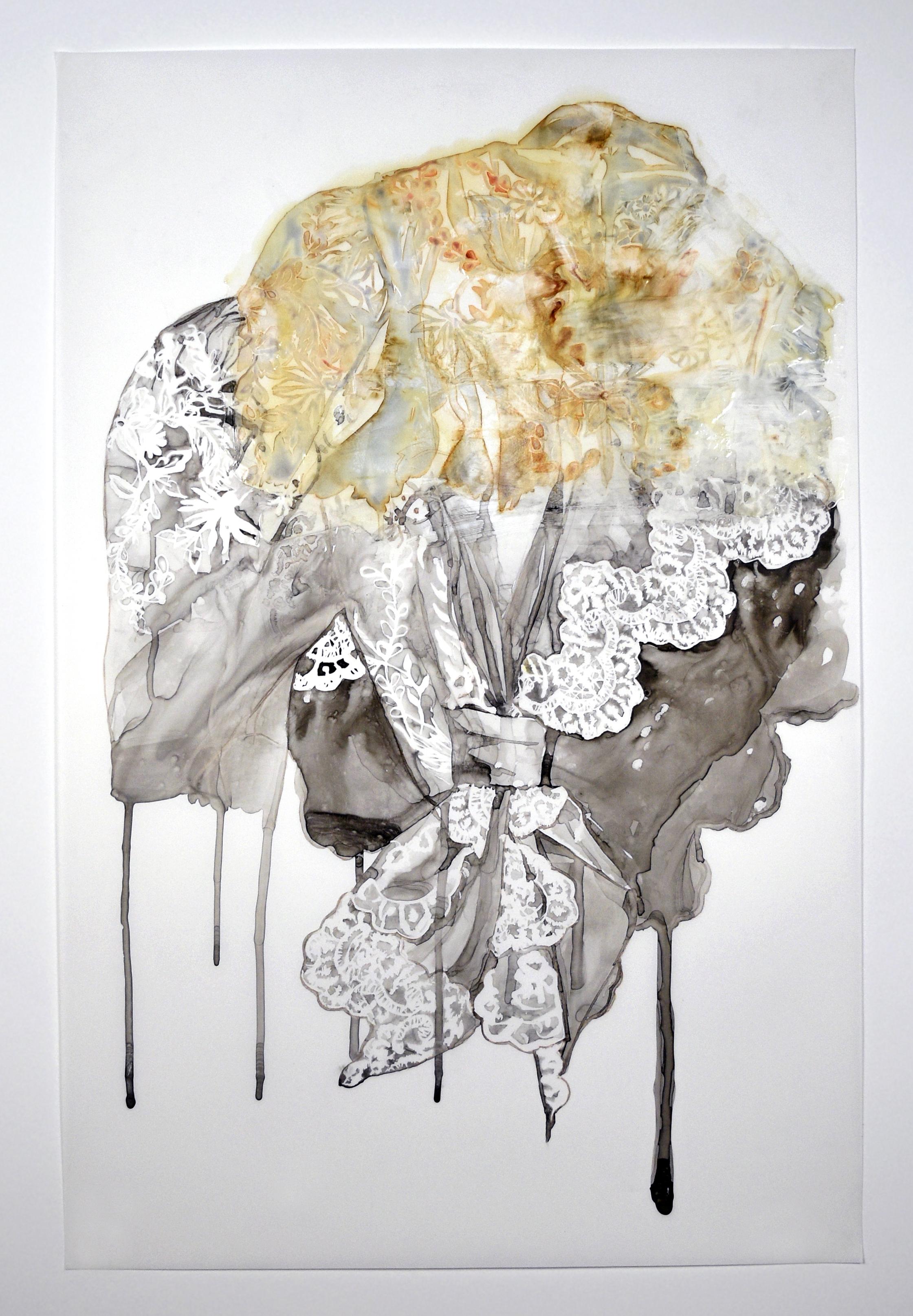 "Hybrid , 2015.Monoprint, sumi ink, & acrylic medium on Yupo paper, 35"" x 23"""