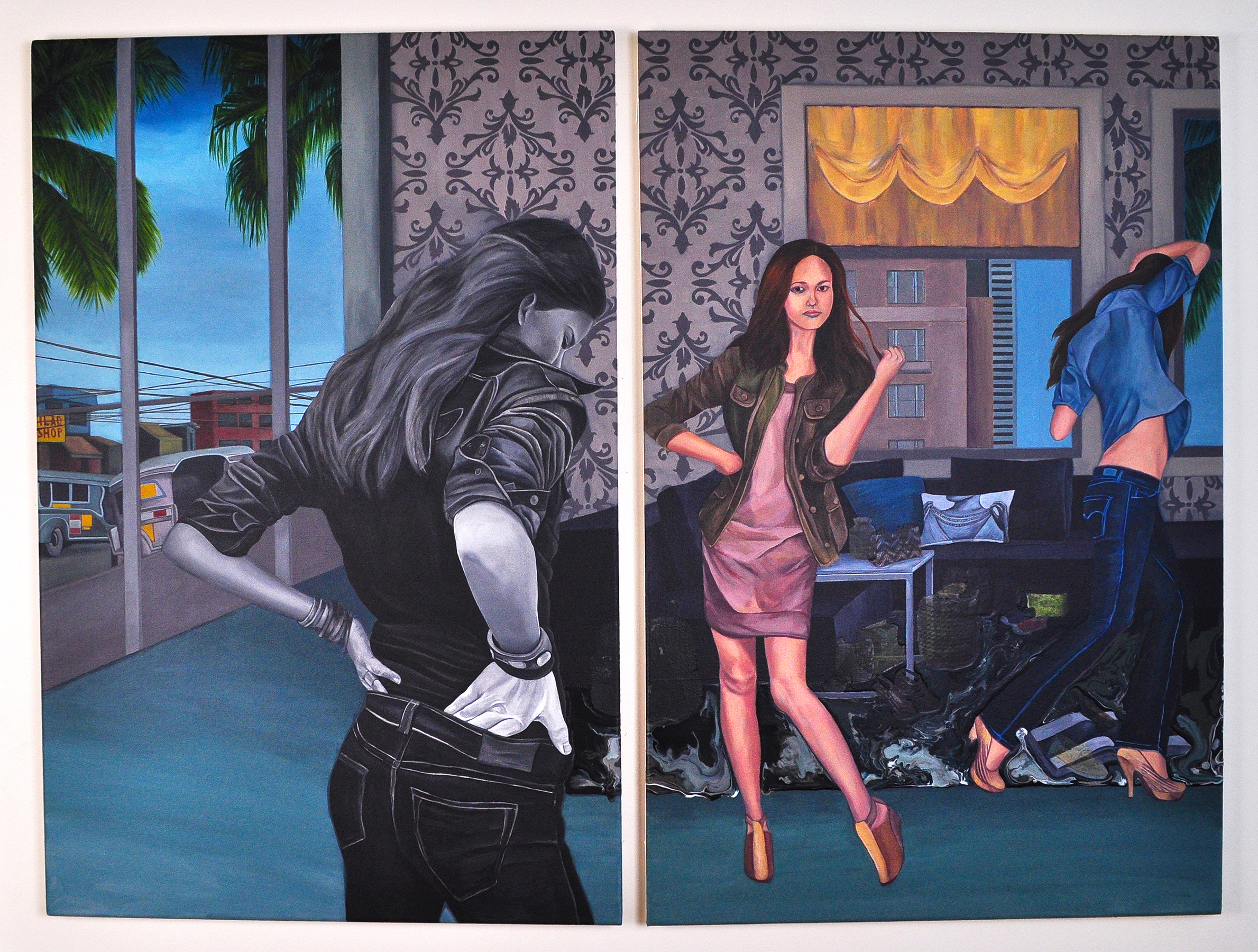 "Inside Out , 2011.Acrylic & image transfer on canvas, 38"" x 50"" overall (Photo: Ramon Pintado)"