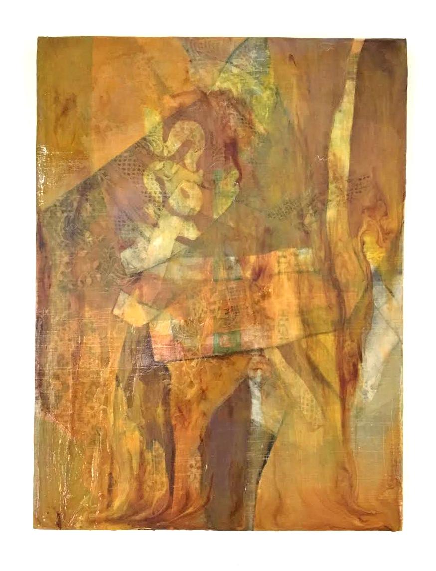 """Likas (Natural) , 2018. Acrylic & image transfer on piña fiber over panel, 16"""" x 12"""""""