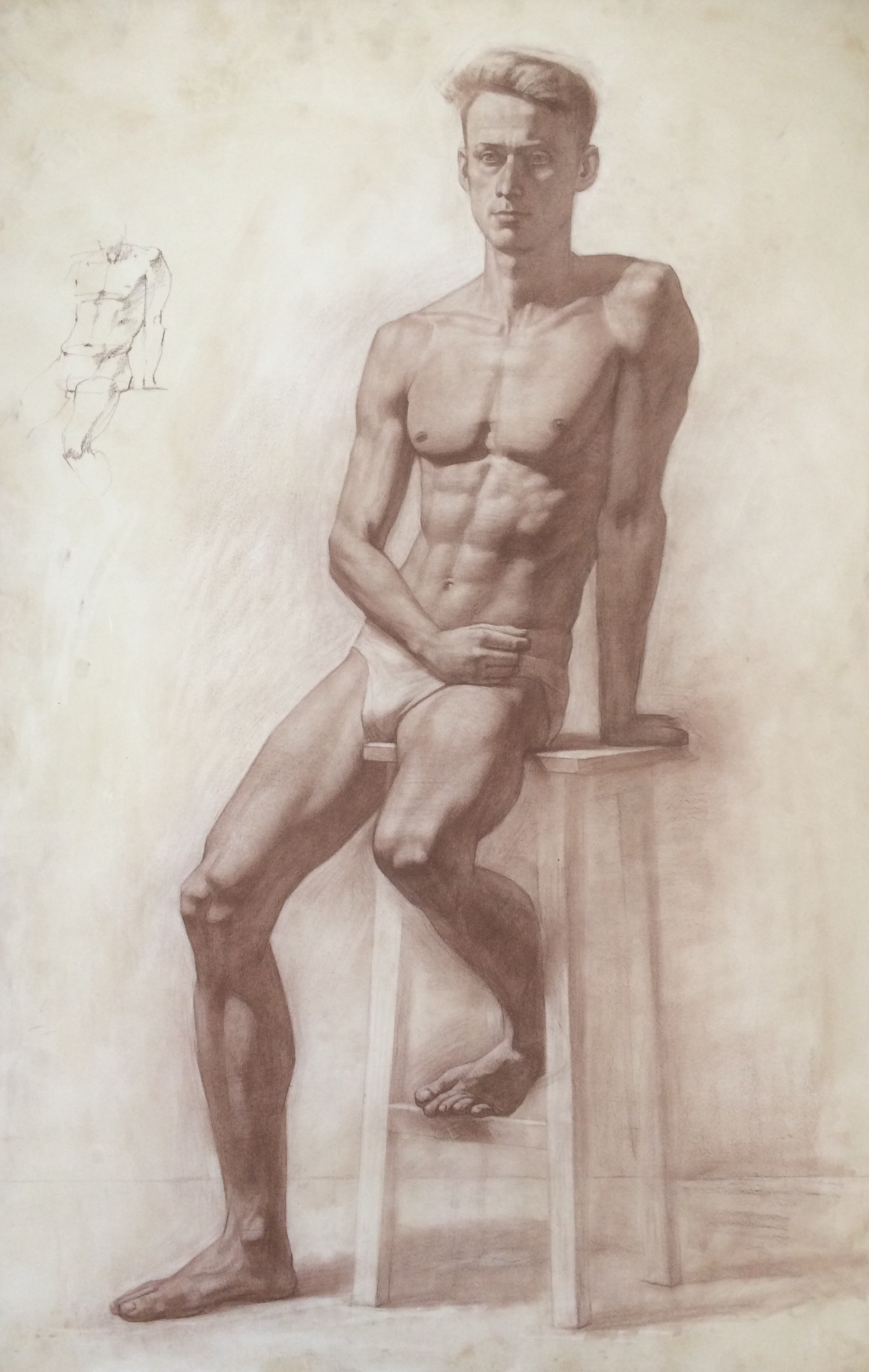 Figure drawing, Sepia on paper, Silvia Ilona Klatt