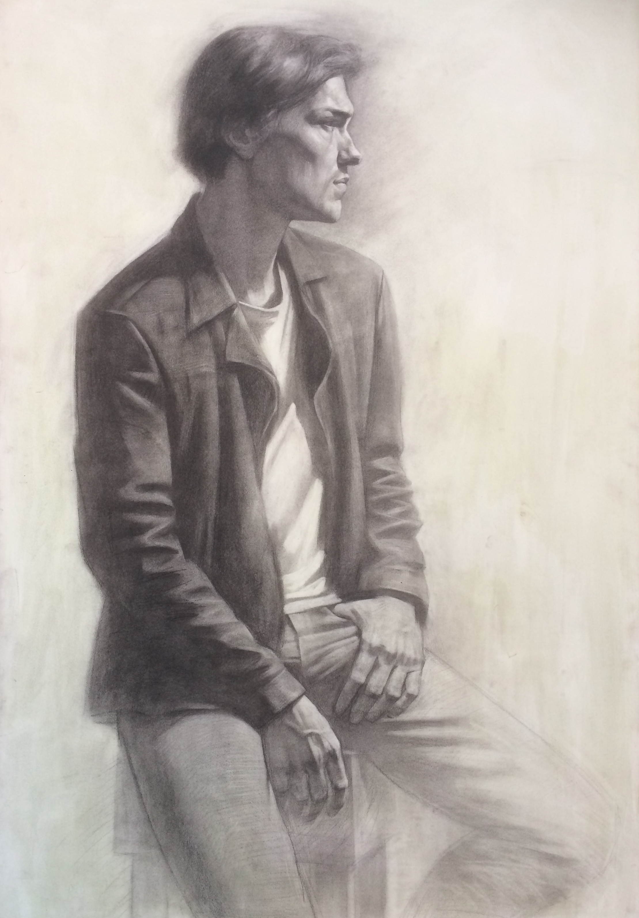 Portrait with hands, charcoal on paper