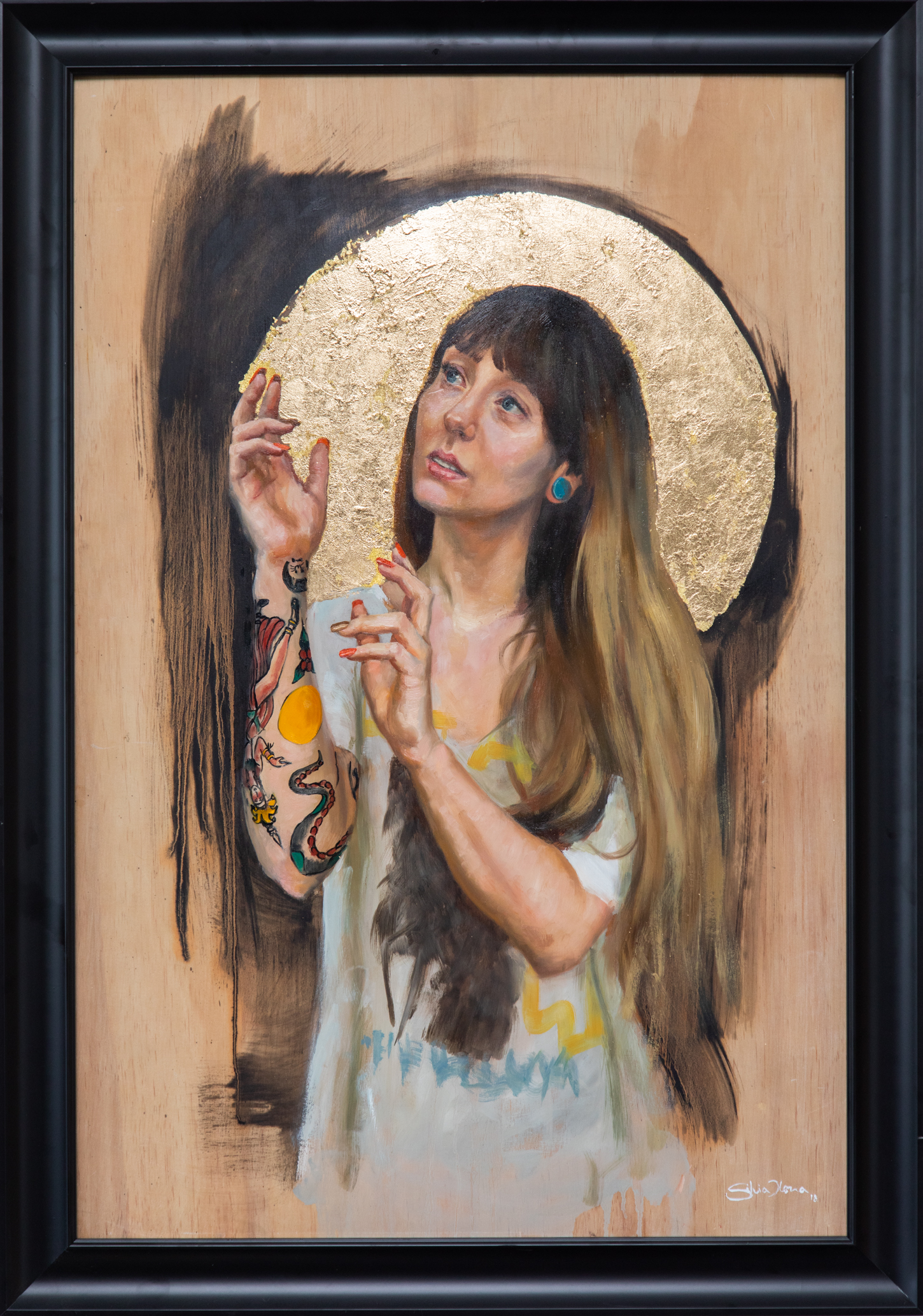 """""""Kylie"""" 36x24 """" oil and gold leaf on wood, Silvia Ilona Klatt, 2018"""