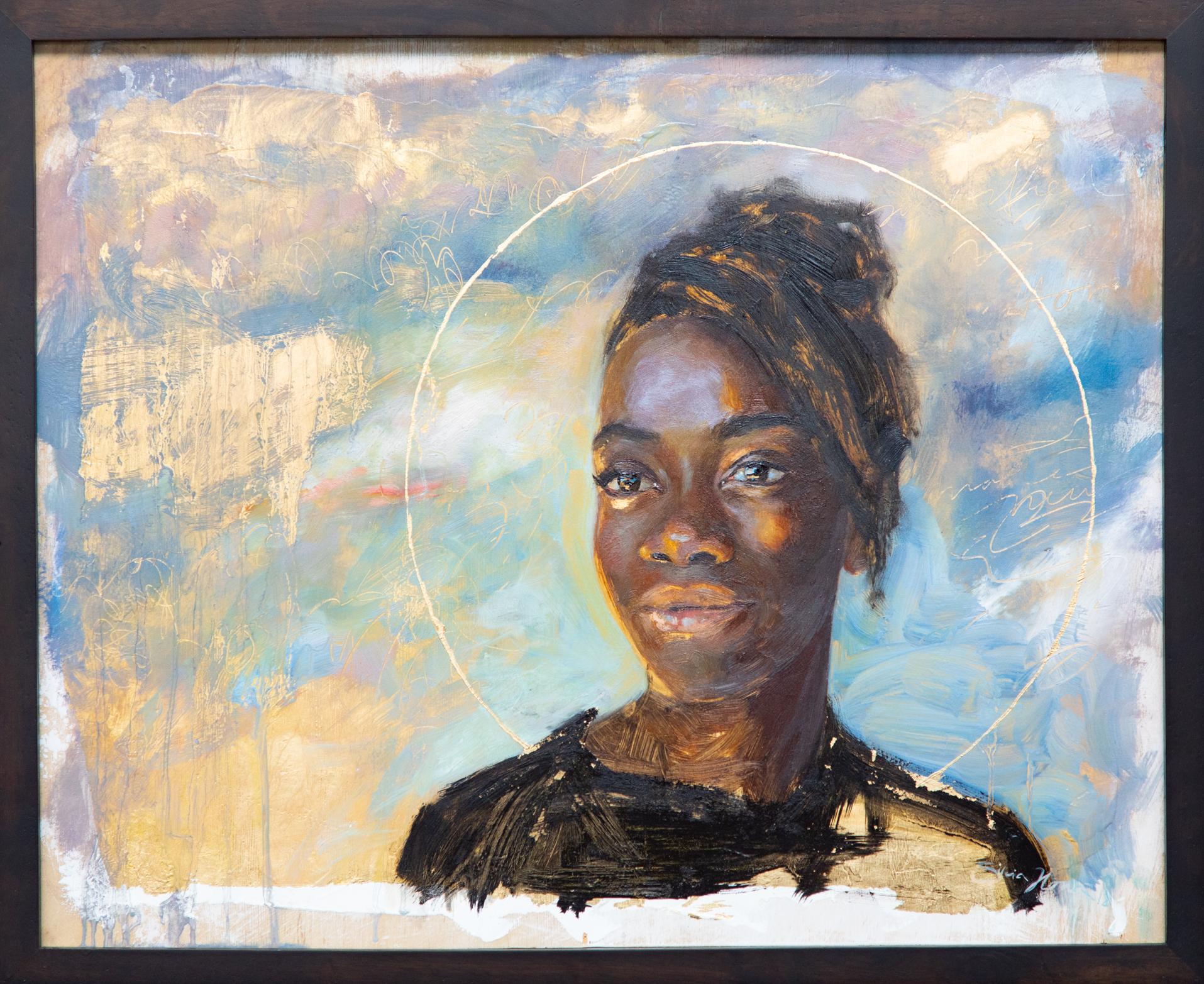 """""""RUTH"""" oil and goldleaf on canvas, Silvia Ilona Klatt, 16x20, 2018"""