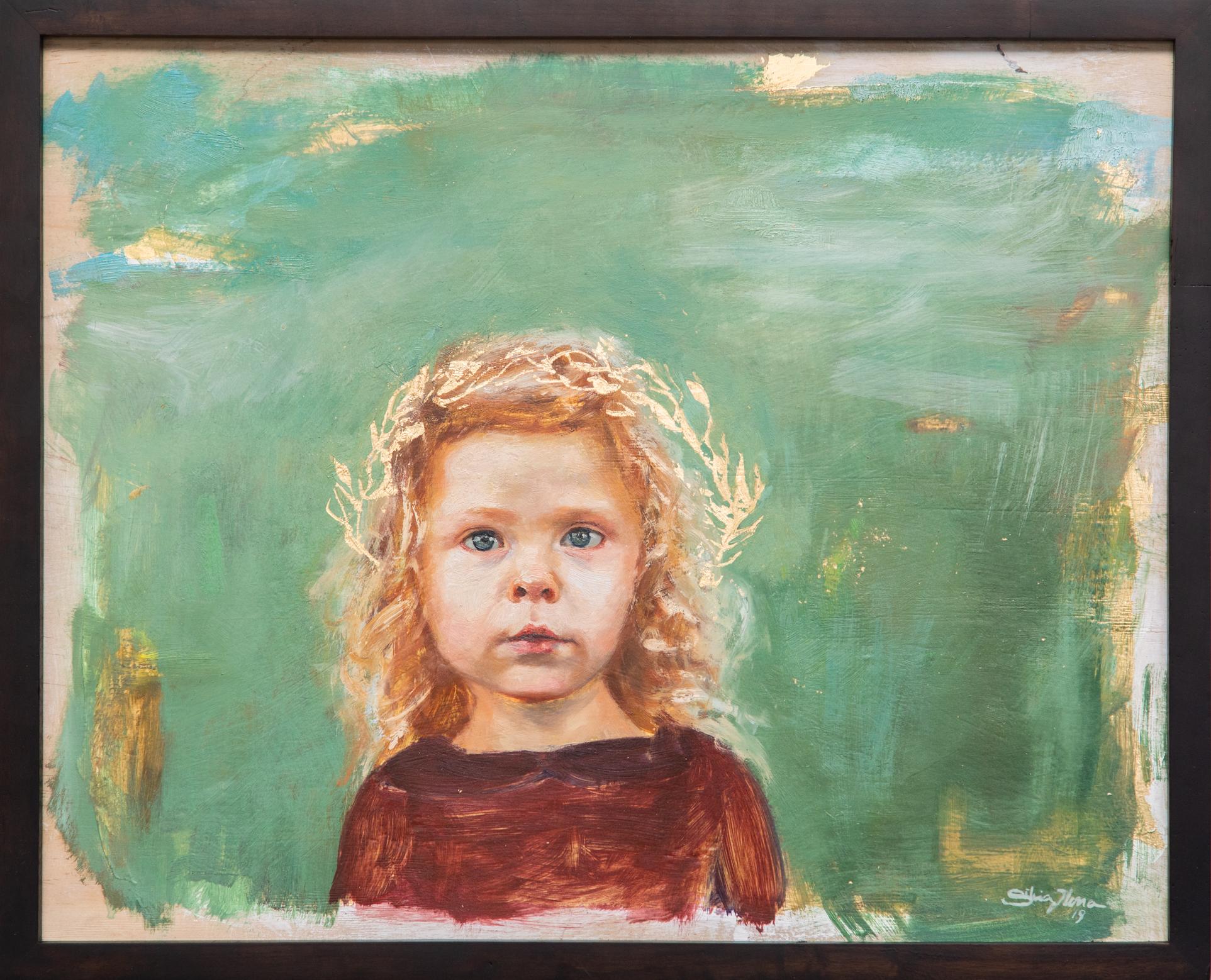 """""""RIVER"""", Oil and gold leaf on wood, Silvia Ilona Klatt, 16x20"""", 2018"""