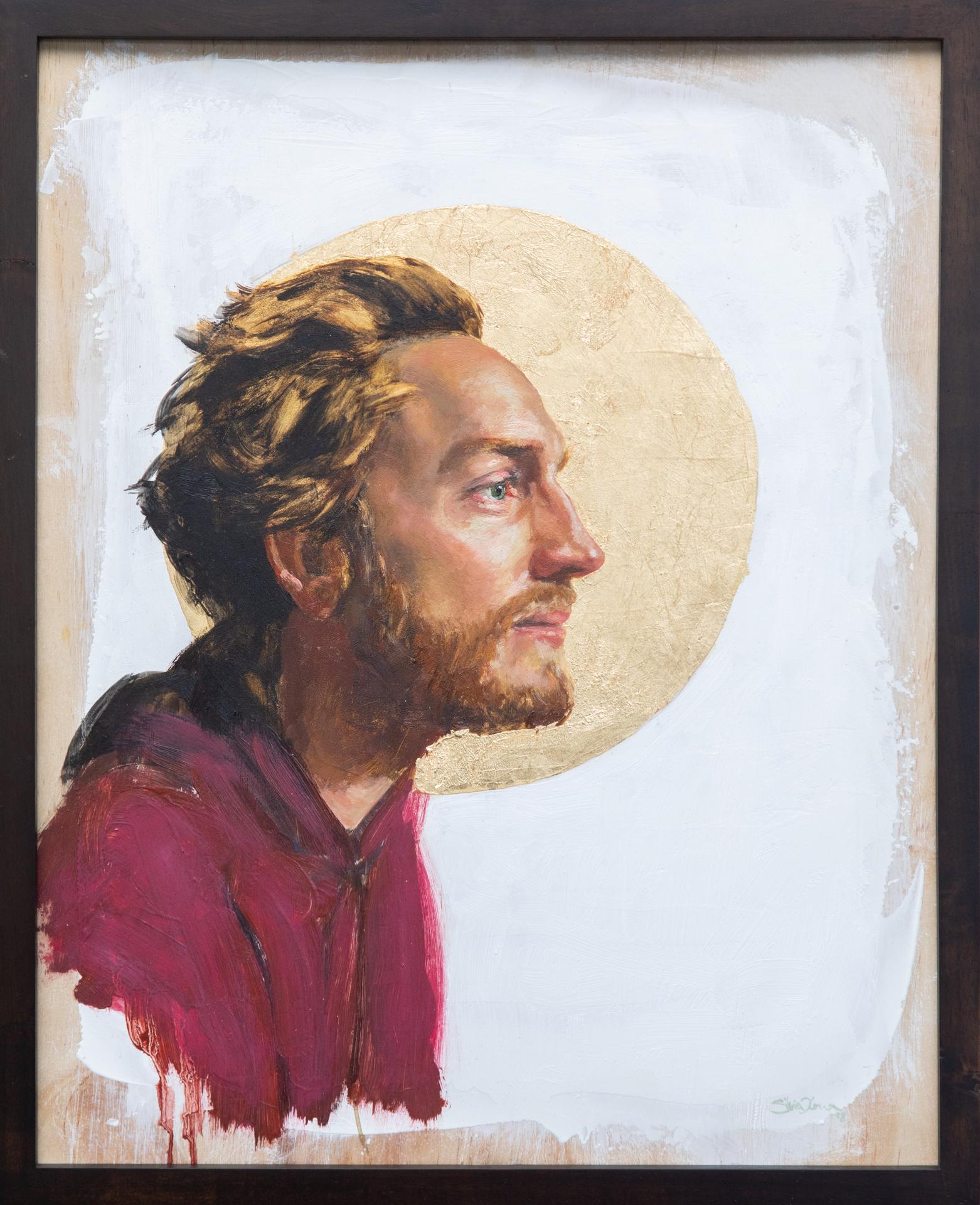 """""""Mark"""" oil and goldleaf on wood, Silvia Ilona Klatt, 16x20, 2018"""