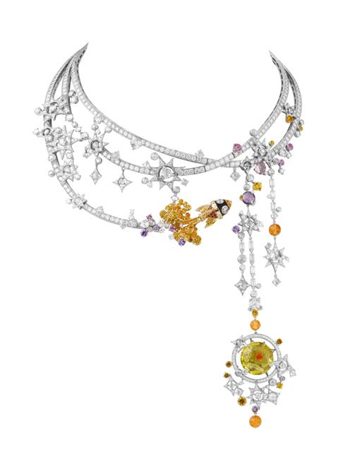 Van-Cleef-Arpels-white-yellow-god-diamond-sapphire-garnet-spinel-beryl-Tampa-necklace1