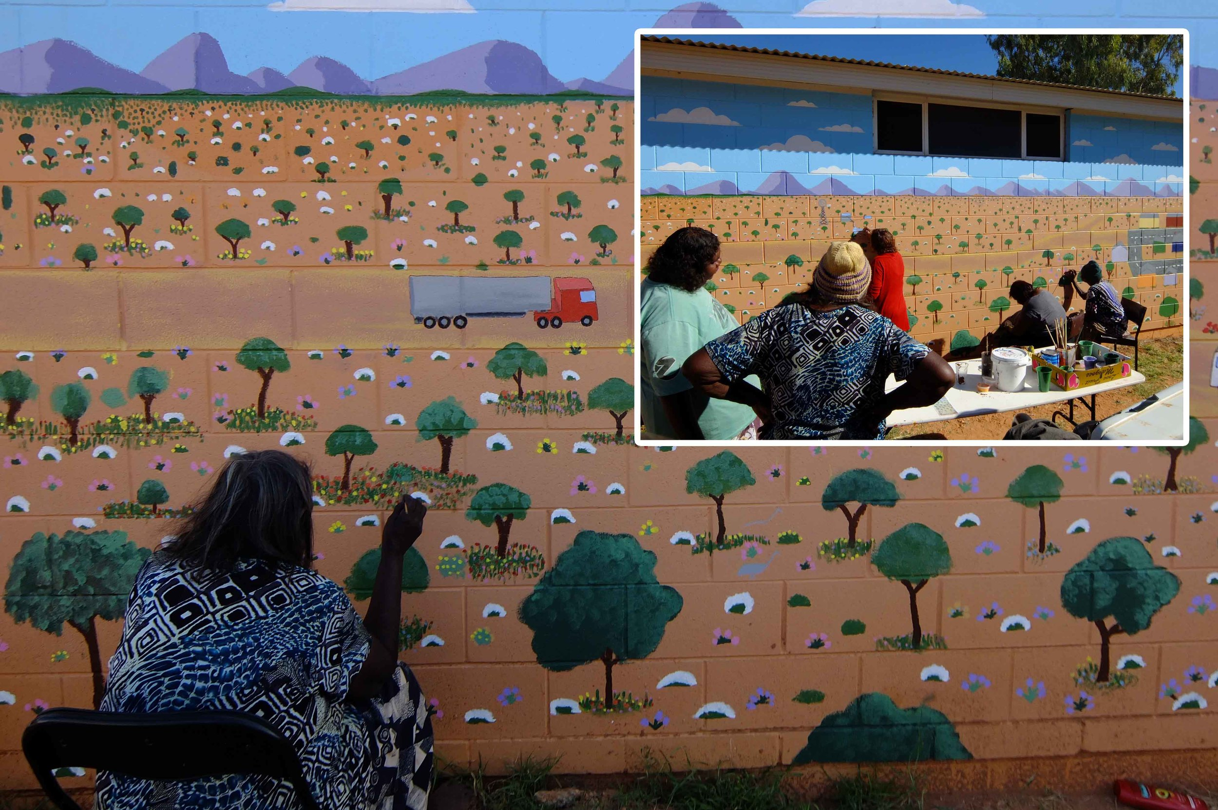 Hazel Ungawanaka and other Titjikala artists painting the mural across the front of Tapatjatjaka Art Centre