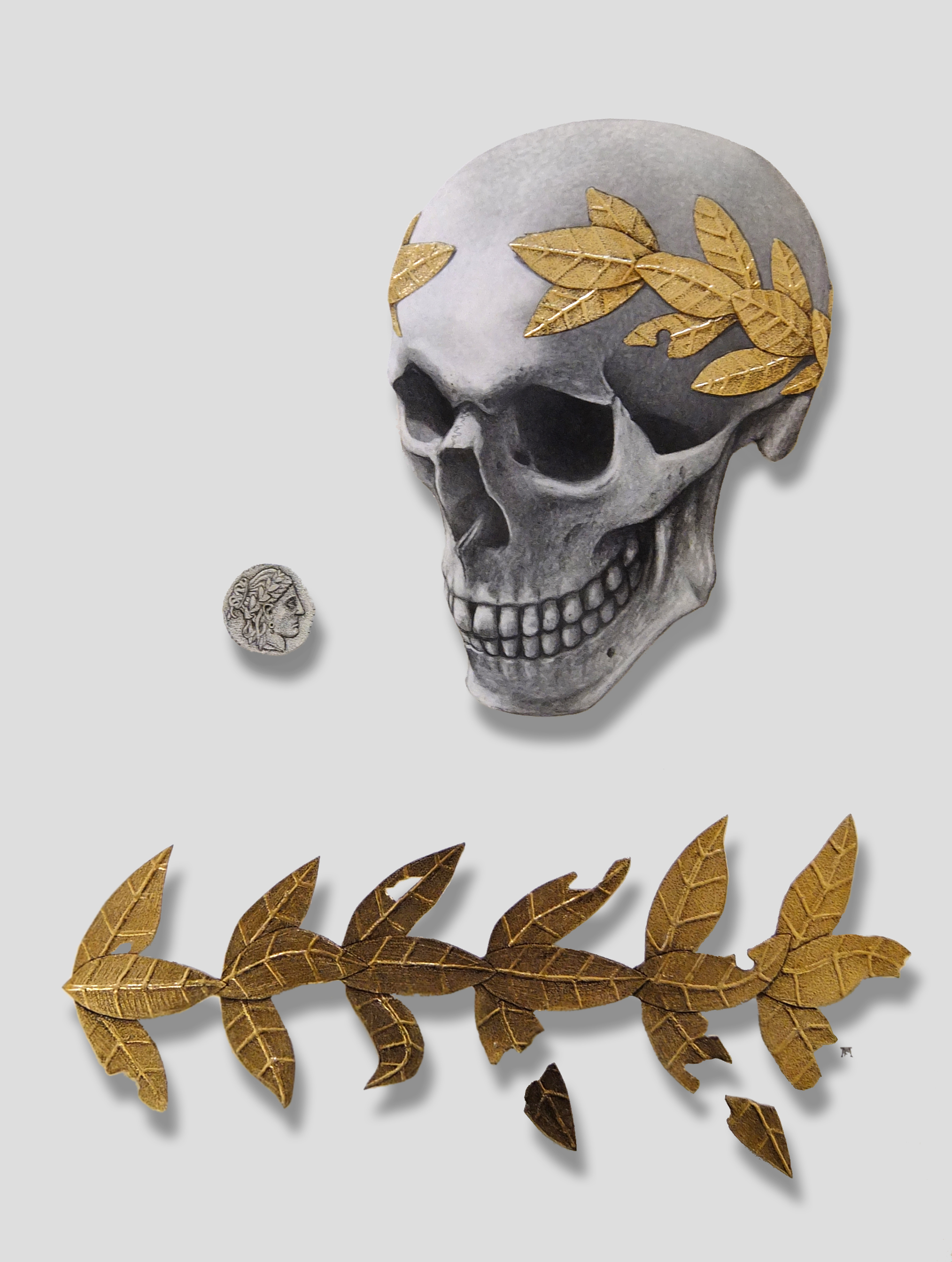 'Skull with Golden Wreath and Coin'