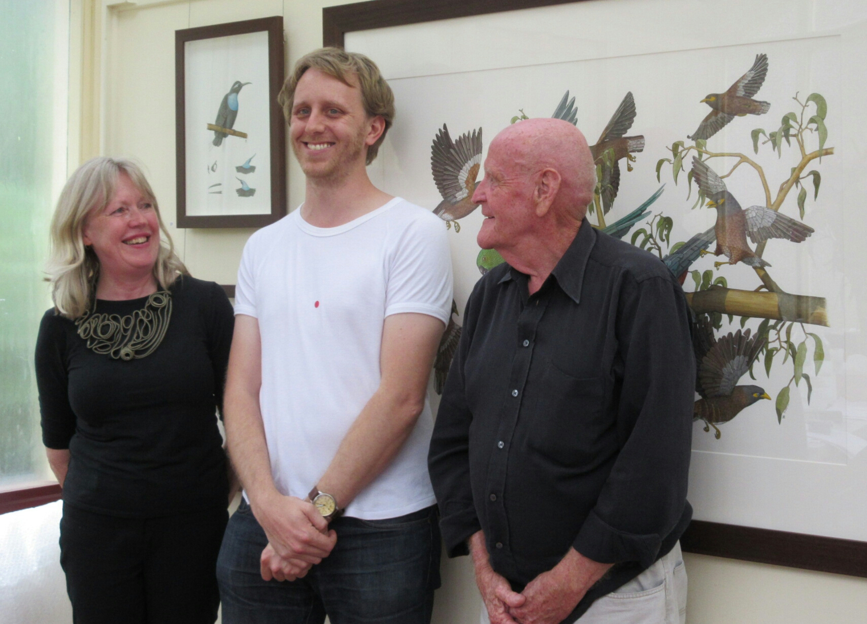 Sue Grose-Hodge, Angus Fisher and Graeme Chambers at opening of 'Animal, Vegetable, Mineral?' (15/11/2014)