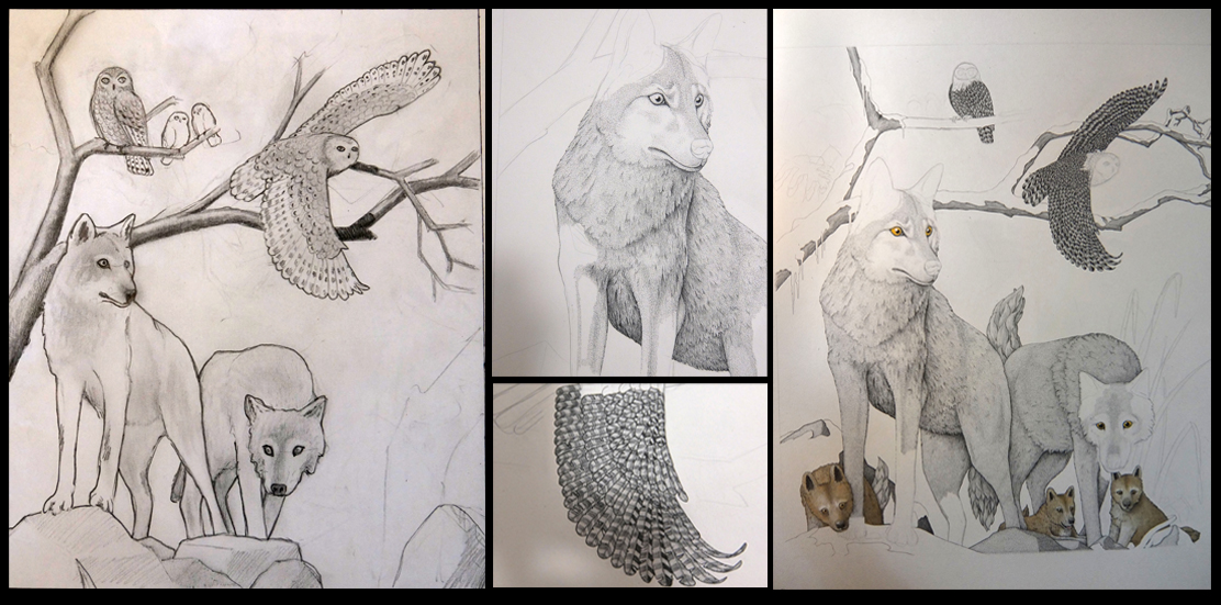 Working on a private commission - From the initial sketch (left) to the current stage of completion (right)