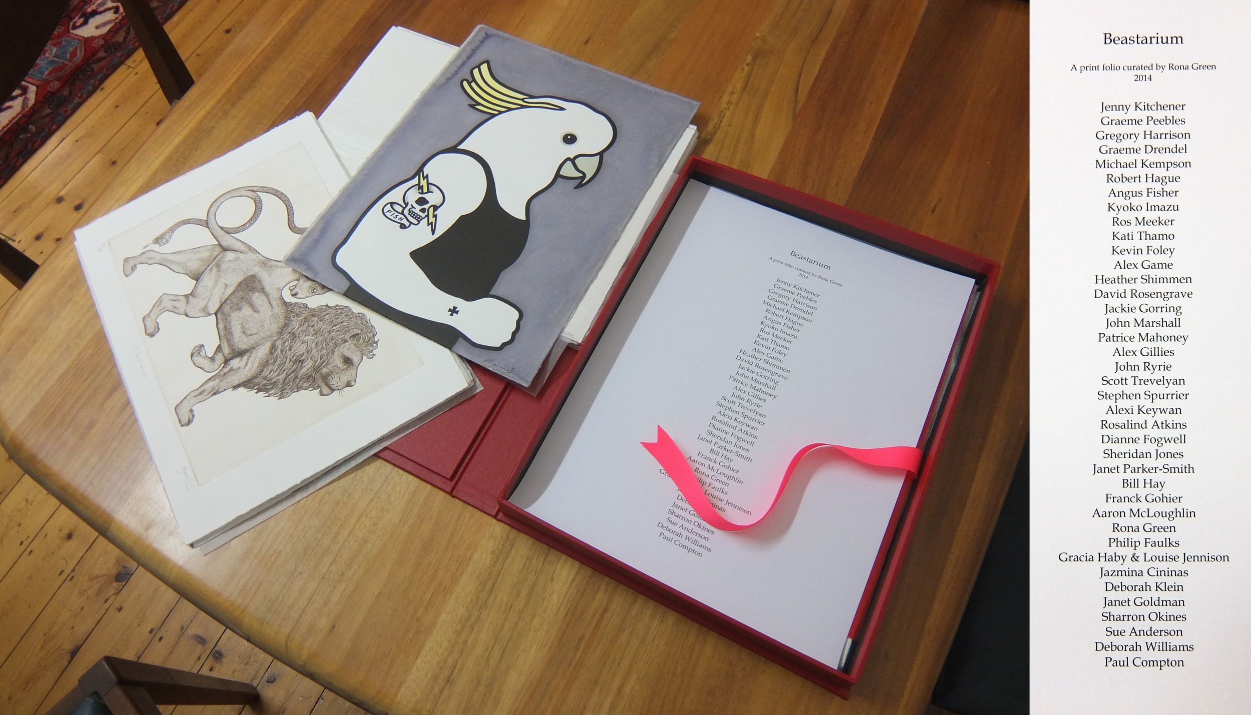 First look at the 'Beastarium' folio including works by Angus Fisher and Rona Green. Full list of participants (right)