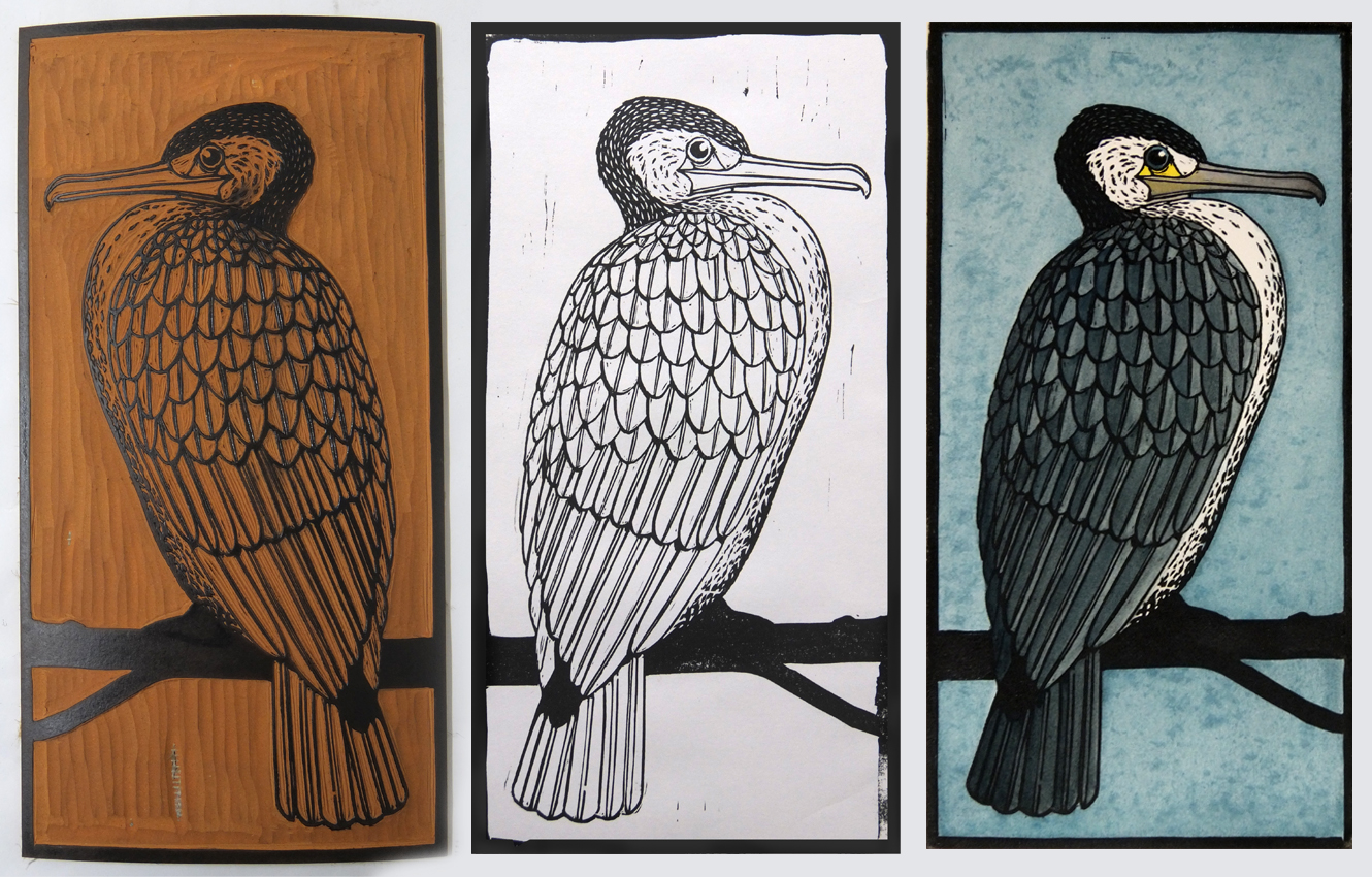 From left to right: Lino block ready to print, Black key-line print, Multi-coloured print.