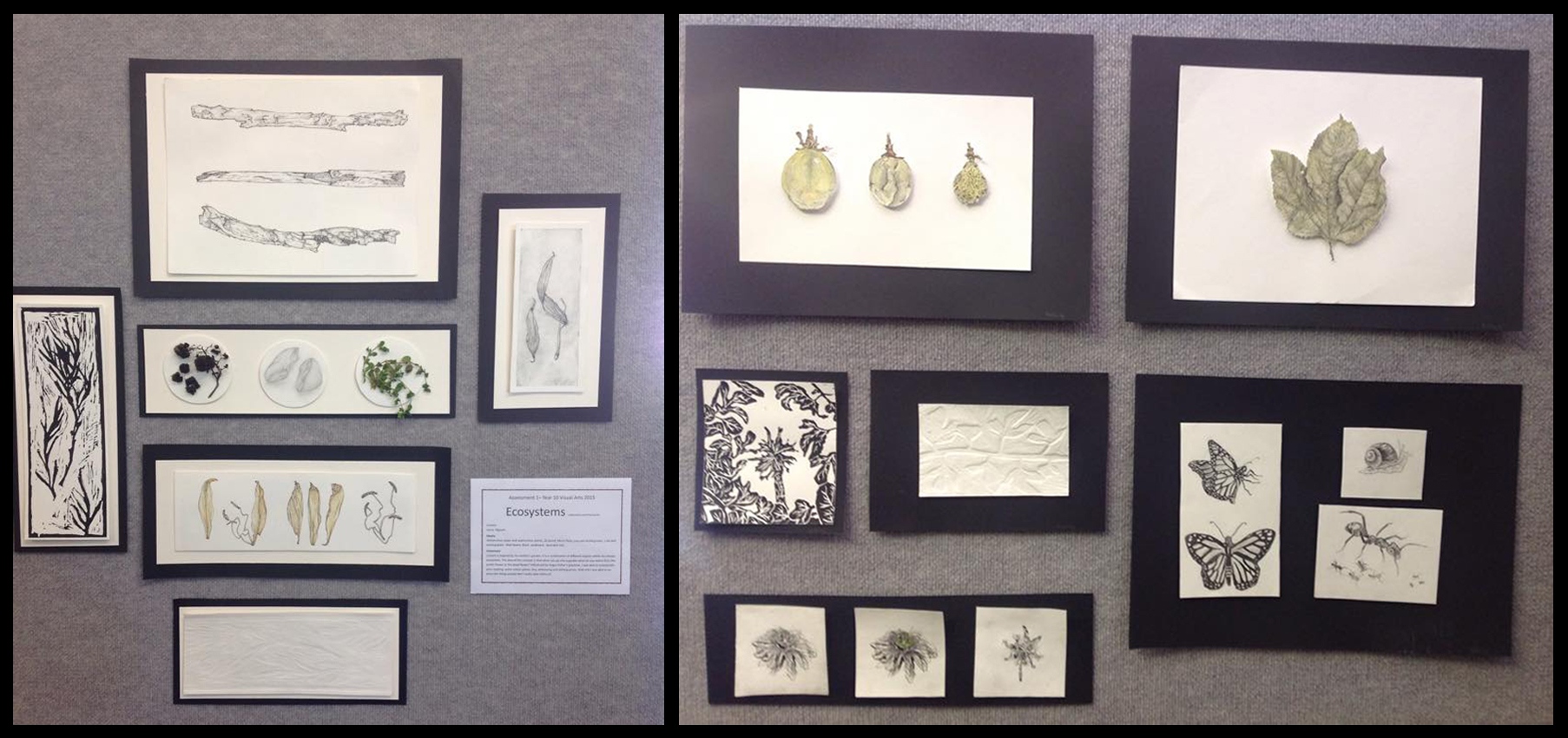 Just some of the great year 10 work displayed in the exhibition