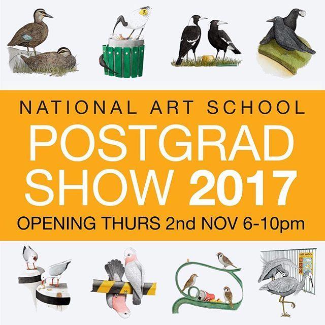 "The National Art School's 2017 Postgraduate Exhibition, opening Thursday 2nd November 6-10pm. Come and see what I've been up to for the last two years! My 'Birds of New Holland' folio is finally complete and will be on display alongside lots of great work by fellow MFA graduates. Everybody is welcome, it should be a fun night! ""The show celebrates and showcases the achievements of students completing the Master of Fine Art. Featuring a diverse and stimulating collection of artwork for sale by some of Australia's most promising contemporary artists, working across ceramics, drawing, painting, photomedia, printmaking and sculpture."" Show runs until the 11th of November (11am-5pm). National Art School - Corner of Forbes St. and Burton St. Darlinghurst, Sydney. #nas #gradshow #mfa #birdsofsydney #birdsofnewholland #art #fineart #exhibition #artshow #artexhibition #sydney #sydneyart"